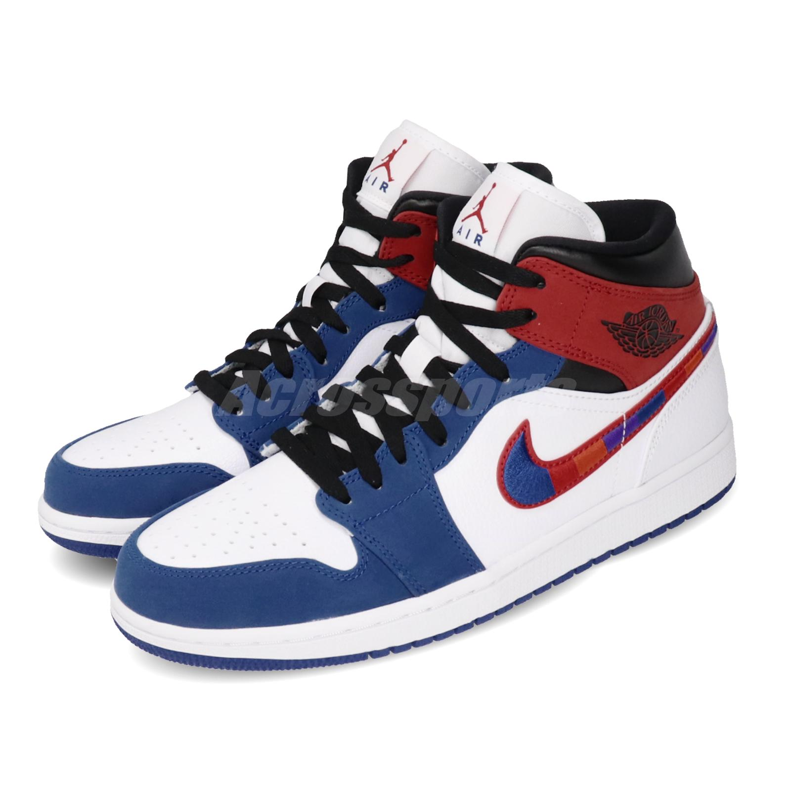 Nike Air Jordan 1 Mid SE Multicolored Swoosh AJ1 White Red Blue
