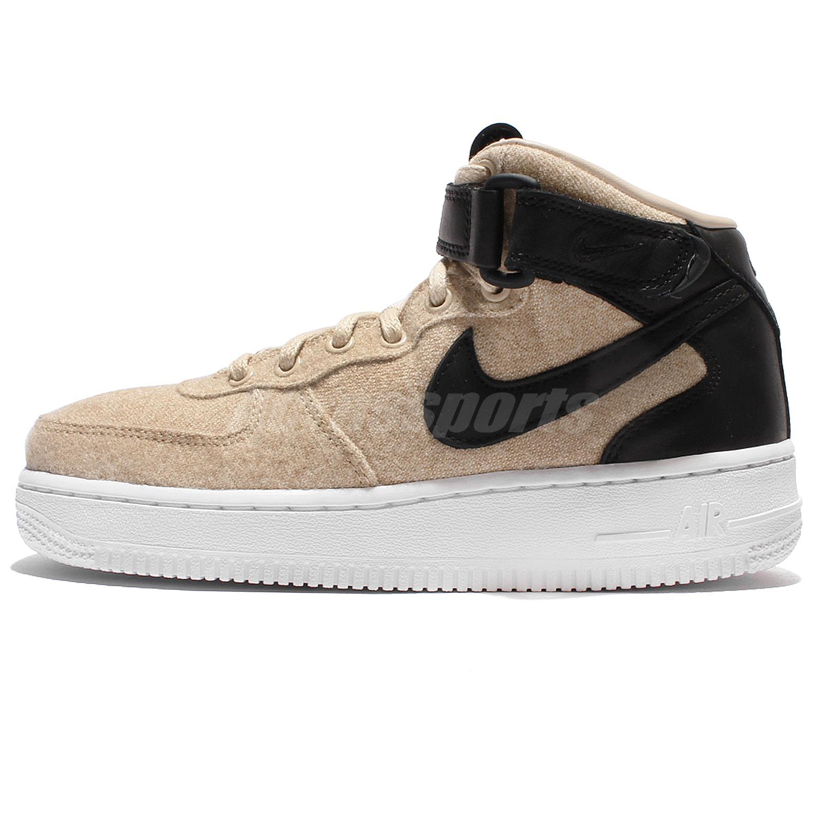Details about Wmns Nike Air Force 1 07 Mid LTHR PRM Leather Grey Black Women Shoes 857666 001
