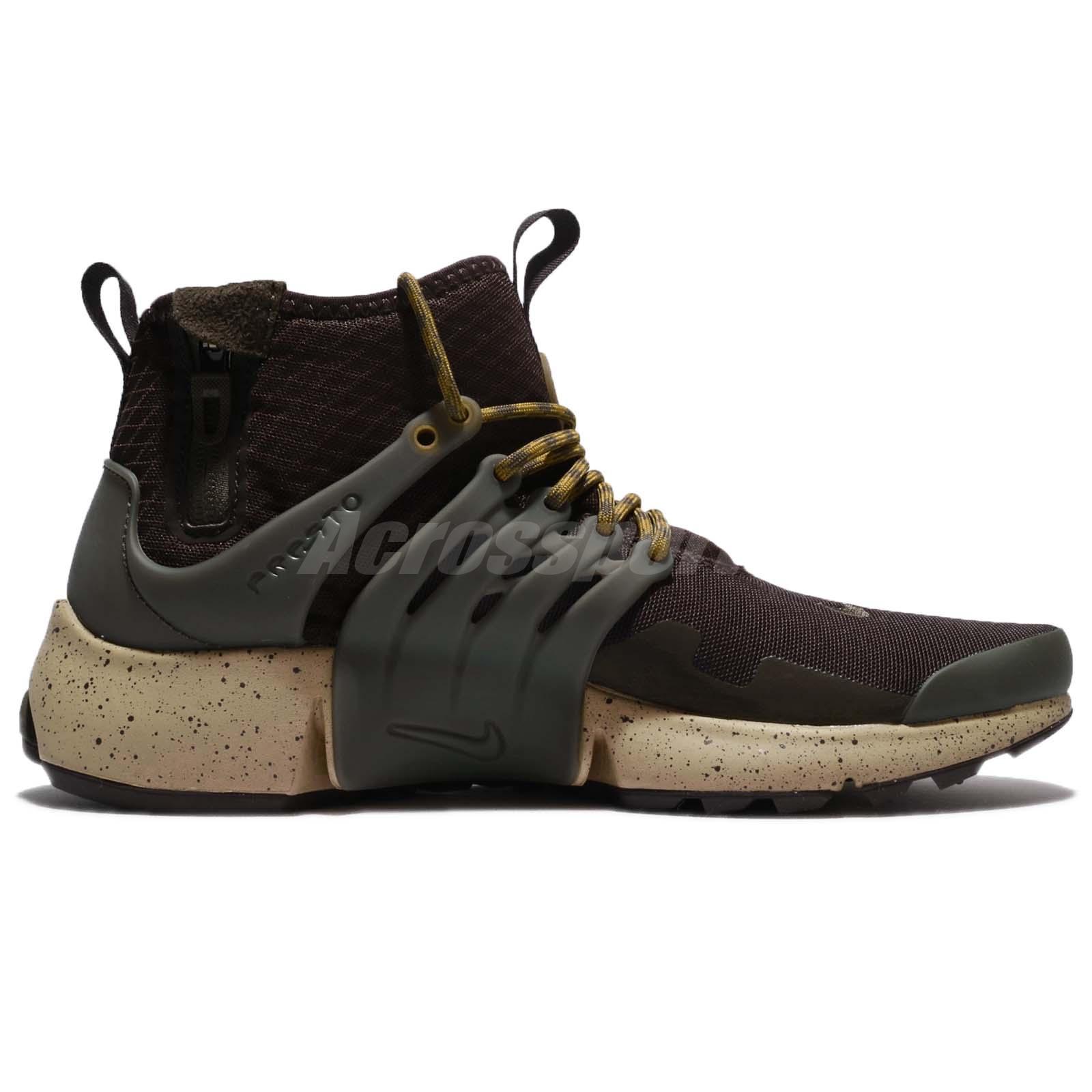 nike air presto meta di velluto marrone carico cachi uomini scarpa