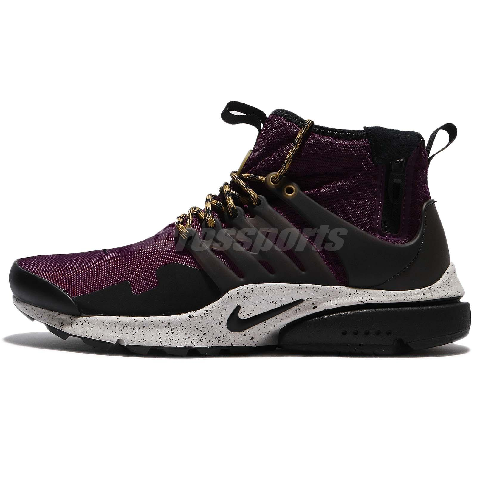 pretty nice 17710 59acc Nike Air Presto Mid Utility Bordeaux Black Desert Moss Zip Men Shoes 859524- 600