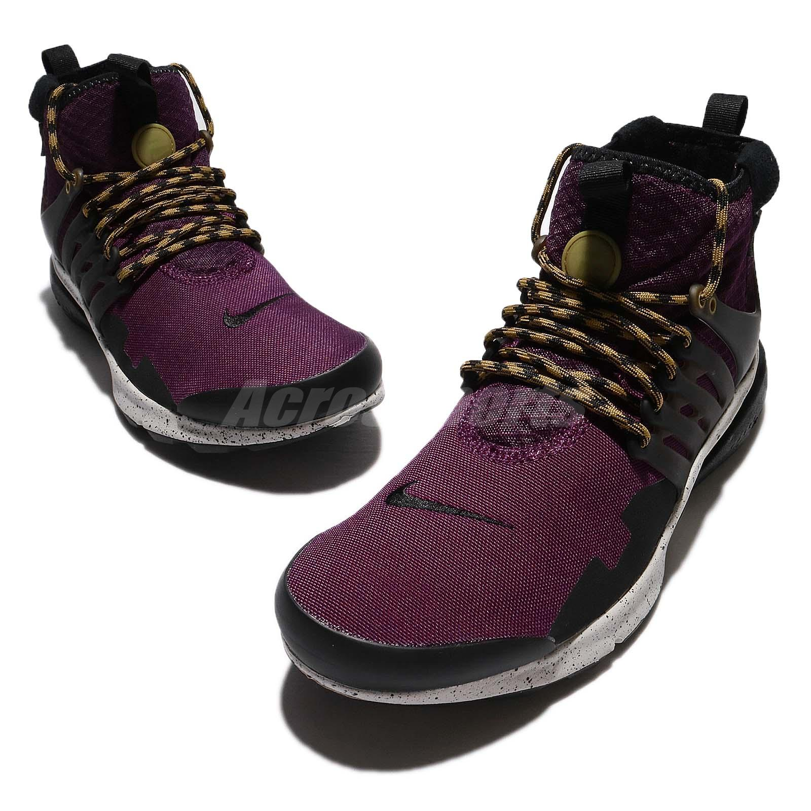 60129c9261a1 Nike Air Presto Mid Utility Bordeaux Black Desert Moss Zip Men Shoes ...