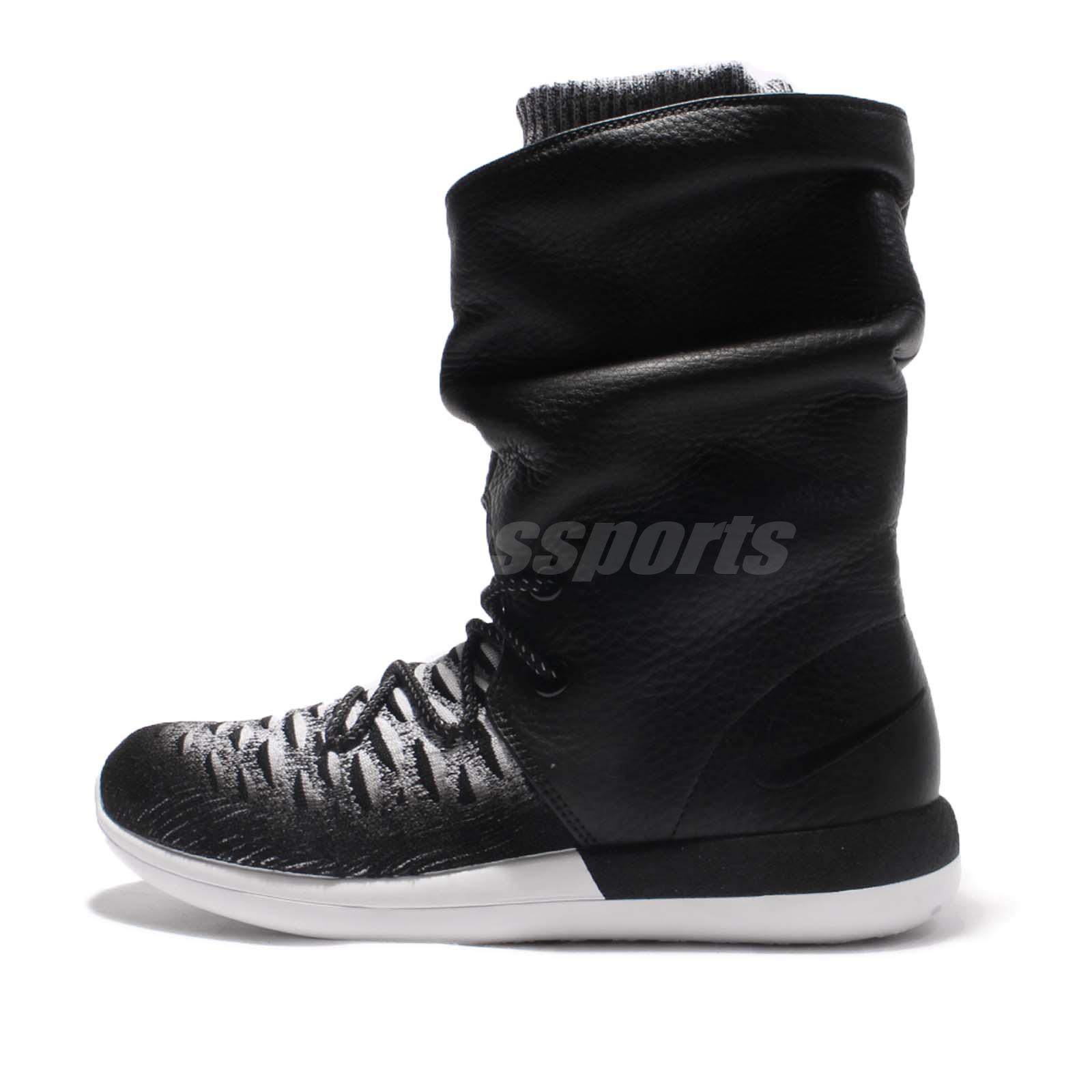9a94d189c9554 Wmns Nike Roshe Two Hi Flyknit 2 Hi Top Black Women Boots Sneakerboot  861708-002