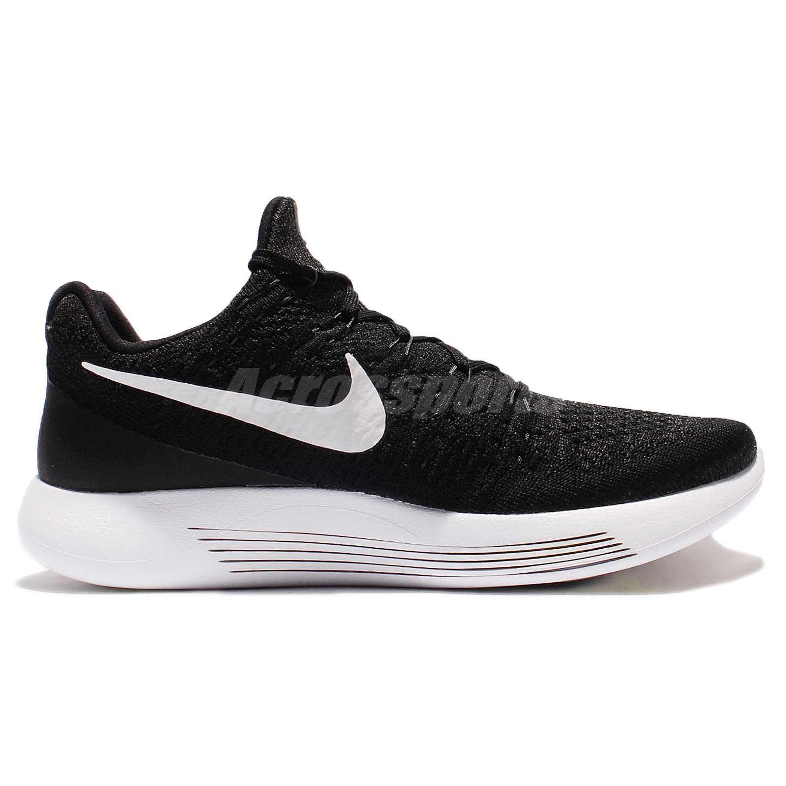 bc250d17b72 Nike Lunarepic Low Flyknit 2 Black White Men Running Sock-Like Shoes ...
