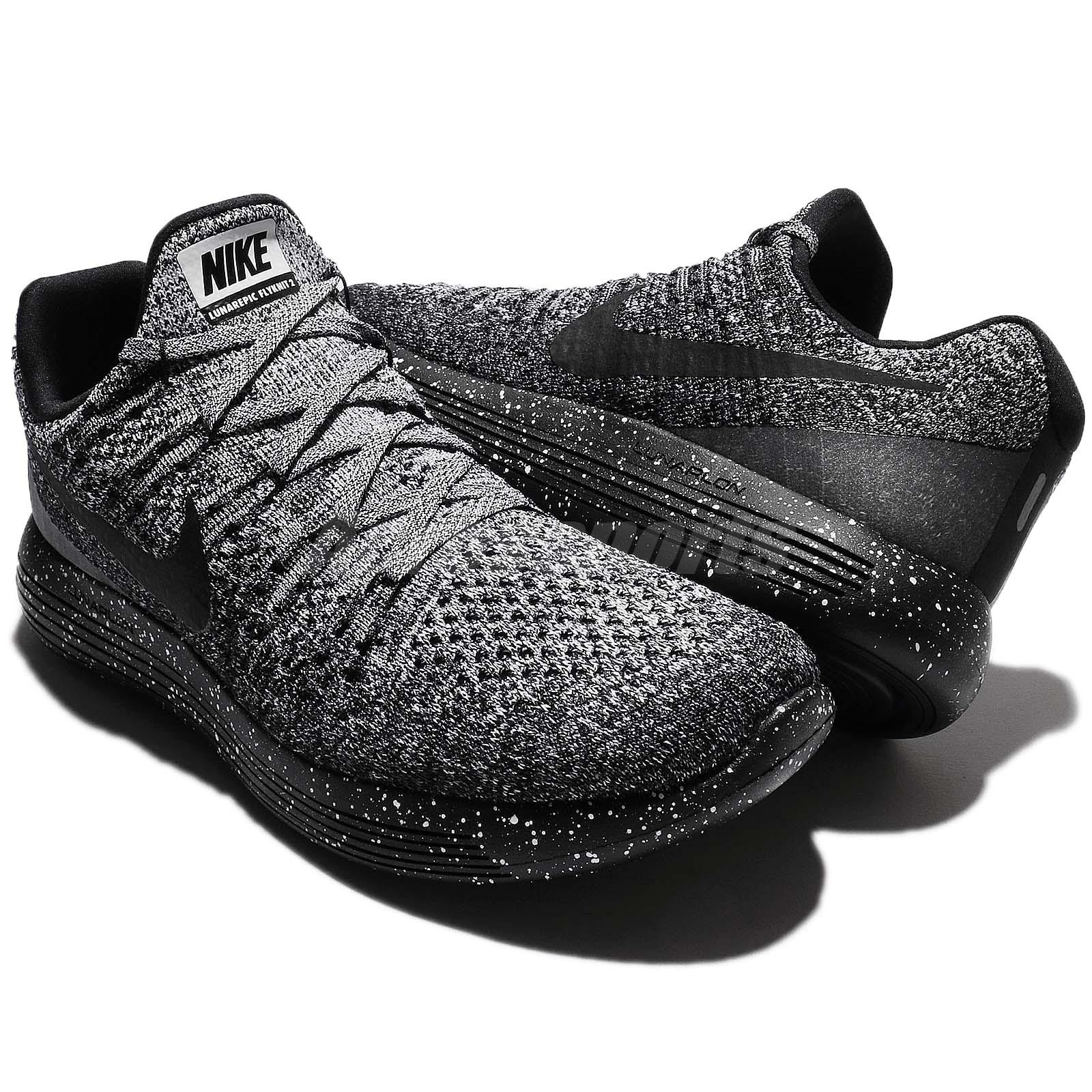 Nike Lunarepic Low Flyknit 2 II Black White Men Running Shoe ...