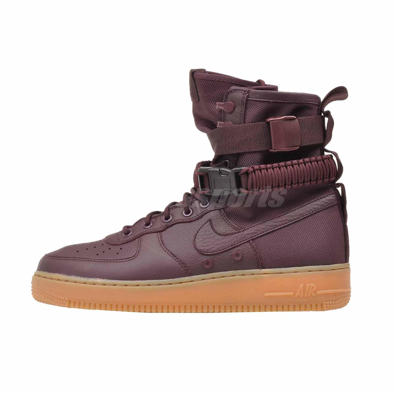 4a6a2cd9a73 Nike SF AF1 Casual Mens Air Force 1 High Top Shoes Burgundy Red 864024-600