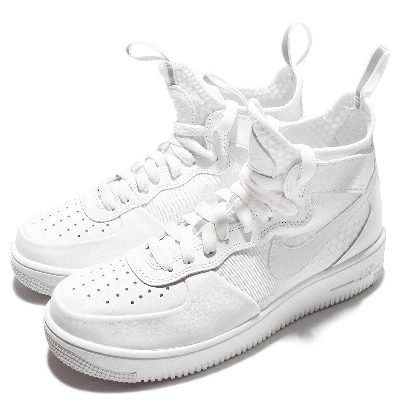 Wmns Nike Air Force 1 Ultraforce Triple White Women Mid AF1 Shoes 864025-100