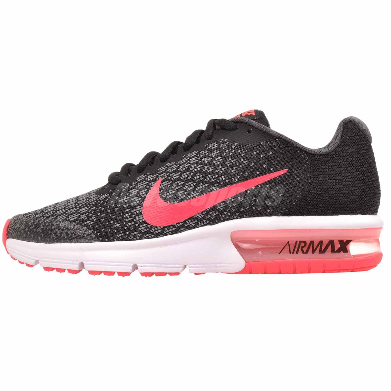 Nike Air Max Sequent 2 GS Running Kids Youth Womens Shoes Black Pink  869994-005 b9eab02f4