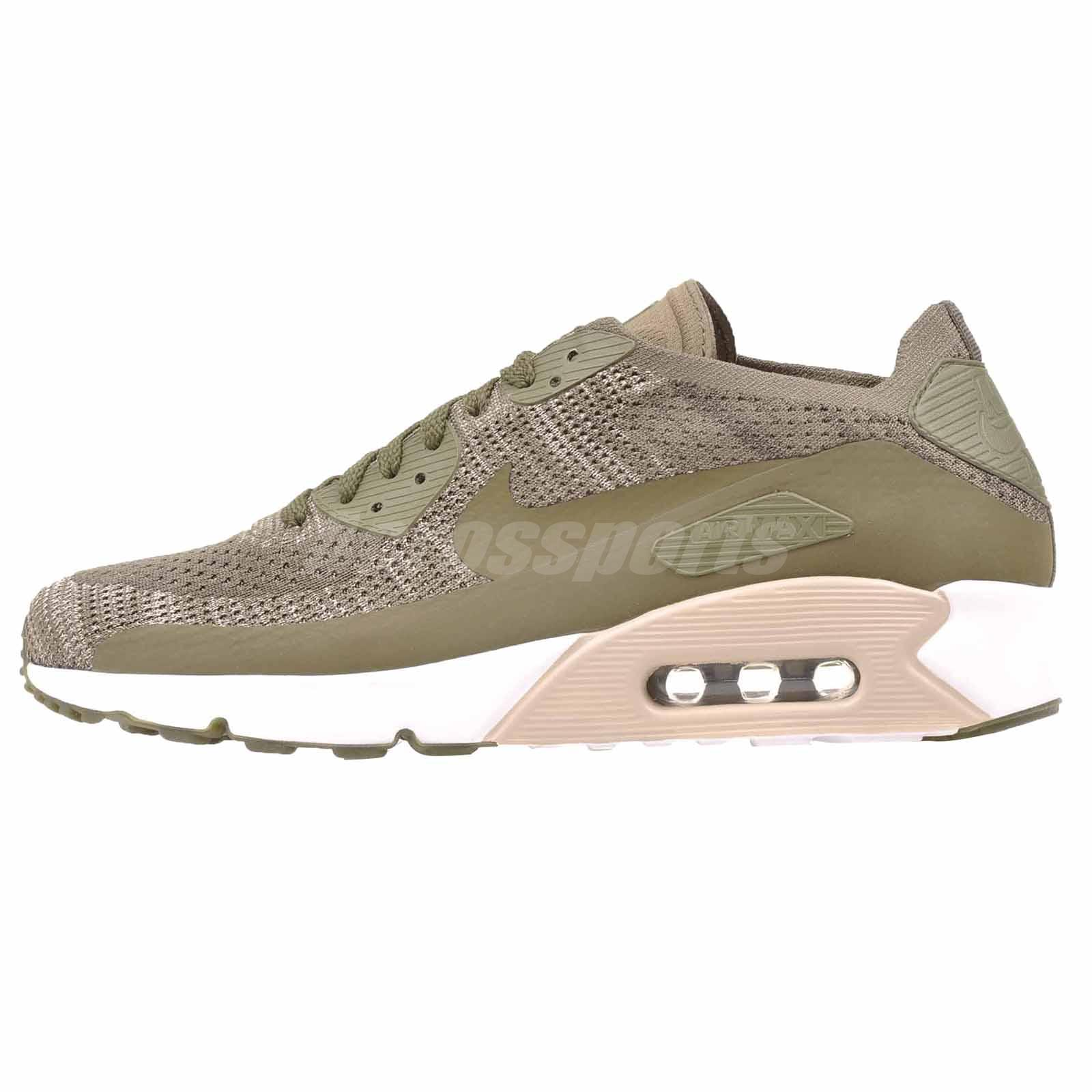 ceffa4942e603 Nike Air Max 90 Ultra 2.0 Flyknit Running Mens Shoes Medium Olive 875943-200