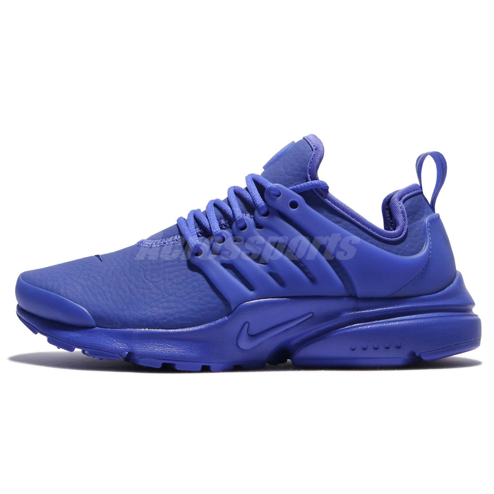 low priced dadd6 84052 Nike Wmns Air Presto PRM Triple Paramount Blue Leather Women Shoe 878071-401