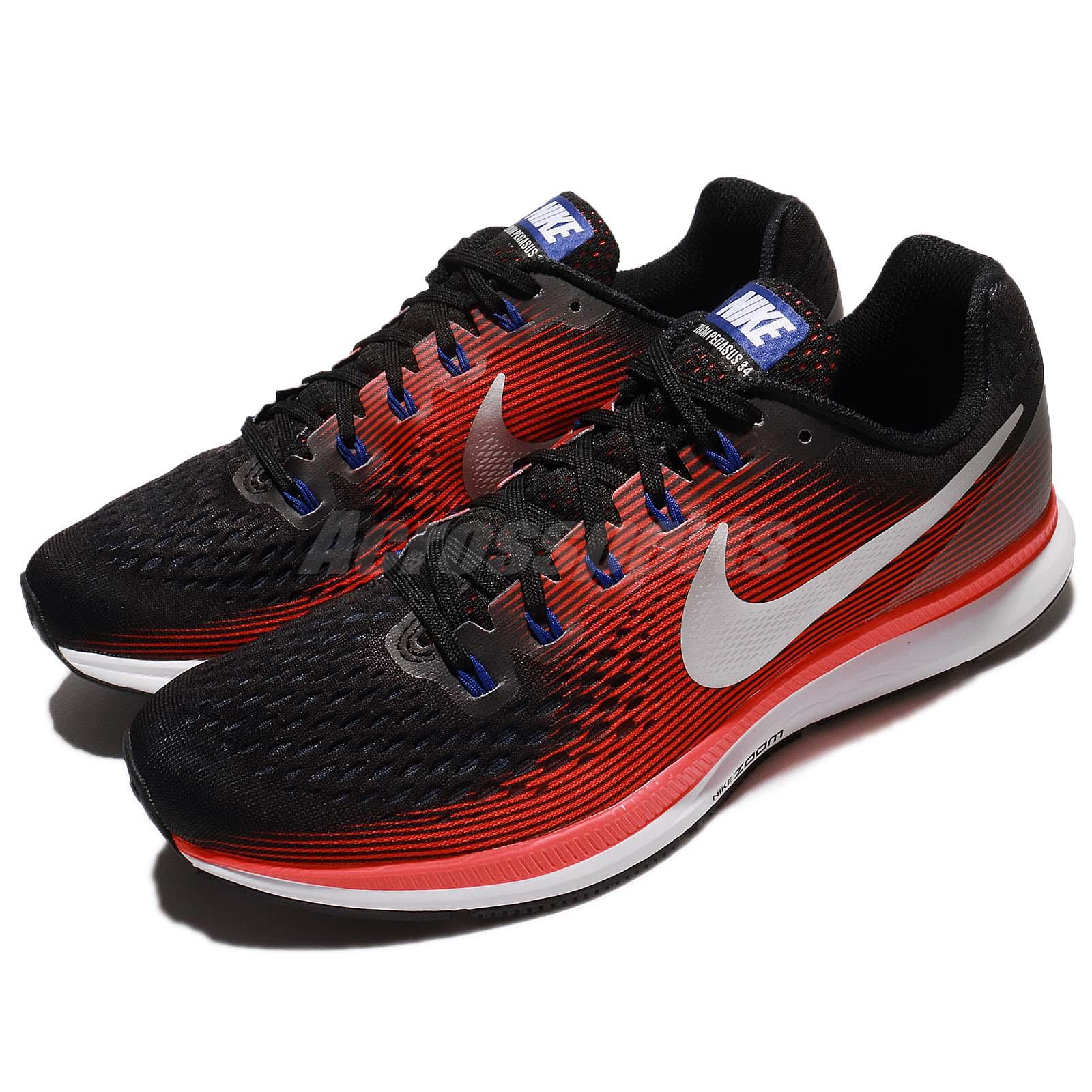 buy popular 7c848 6fe6e Details about Nike Air Zoom Pegasus 34 Black Red Silver Men Running Shoes  Sneakers 880555-006