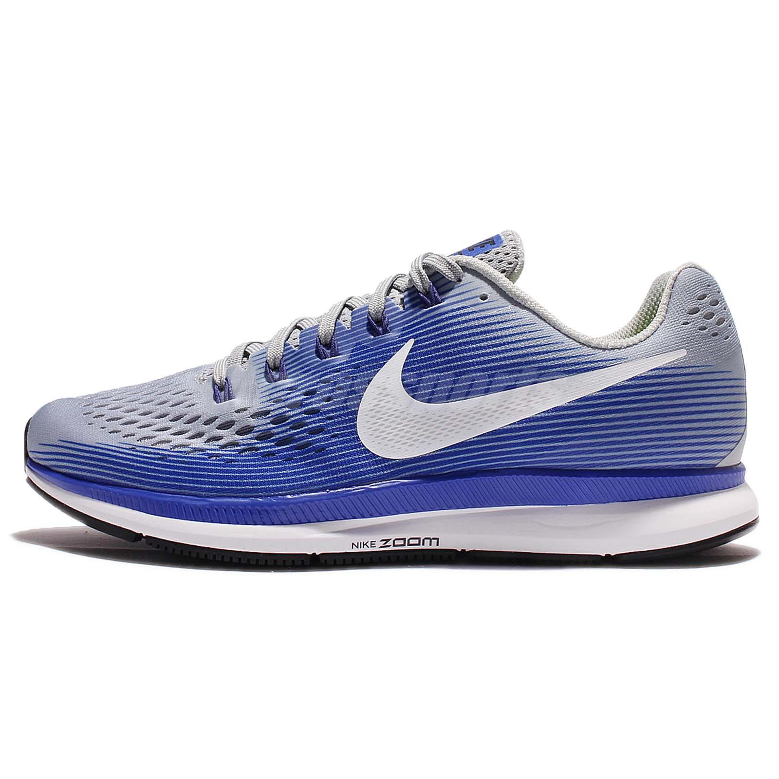 81b1115421bd0 Nike Air Zoom Pegasus 34 Racer Blue Grey Men Running Shoes Sneakers 880555 -007