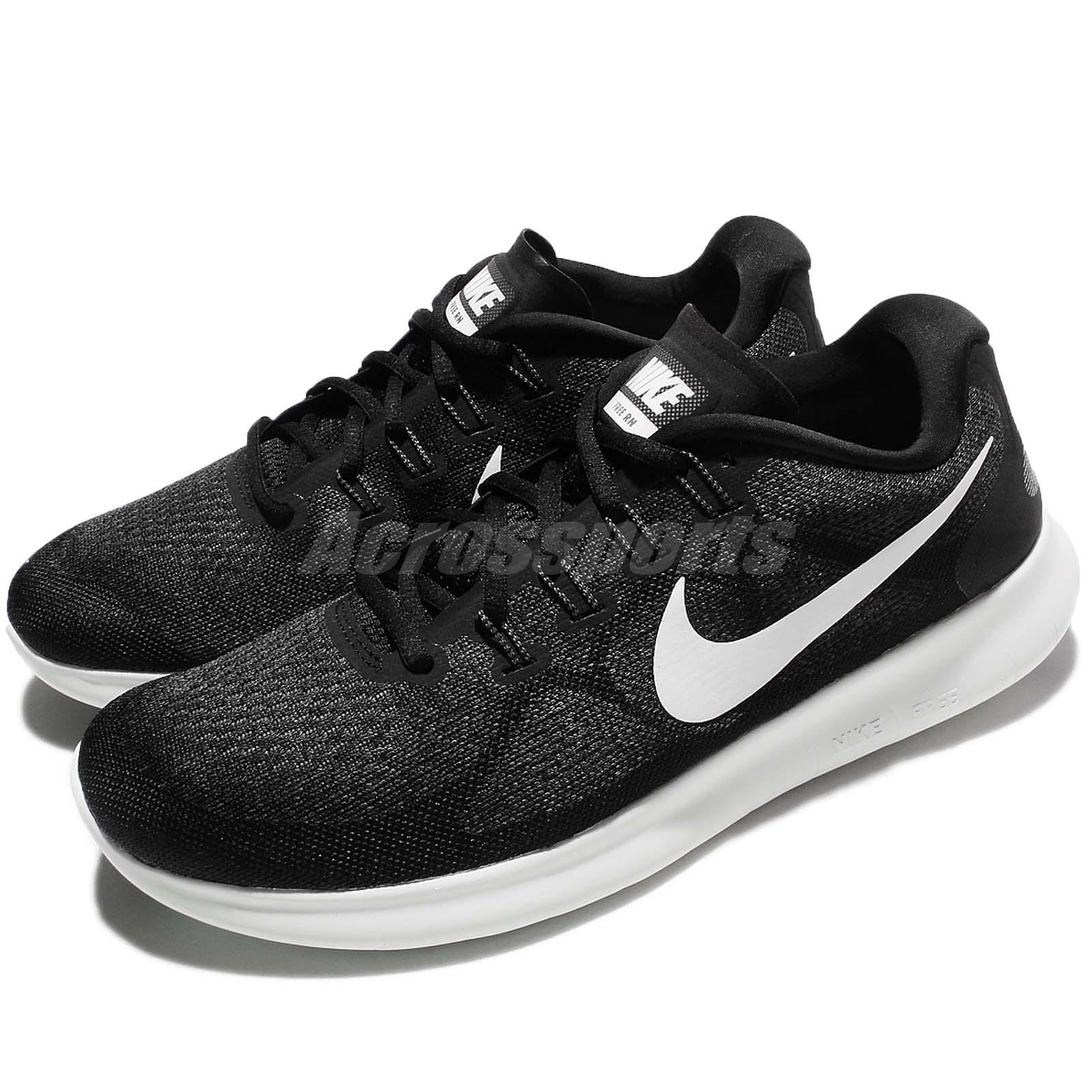 new style 5bf6a fe210 Details about Nike Free RN 2017 Run Black White Men Running Shoes Sneakers  Trainers 880839-001