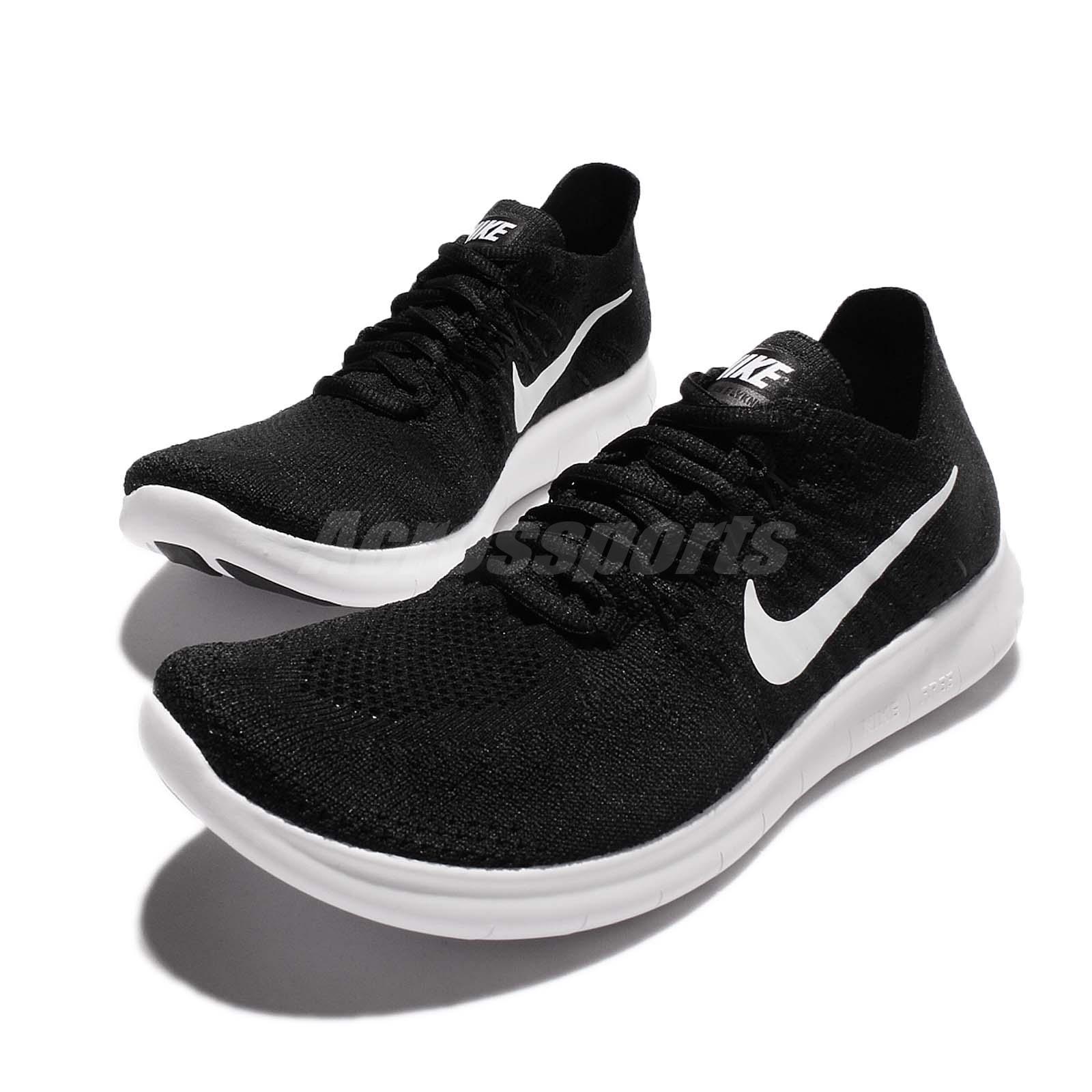Nike WMNS Free RN Flyknit 2017 [880844-001] Women Running Shoes Black/White