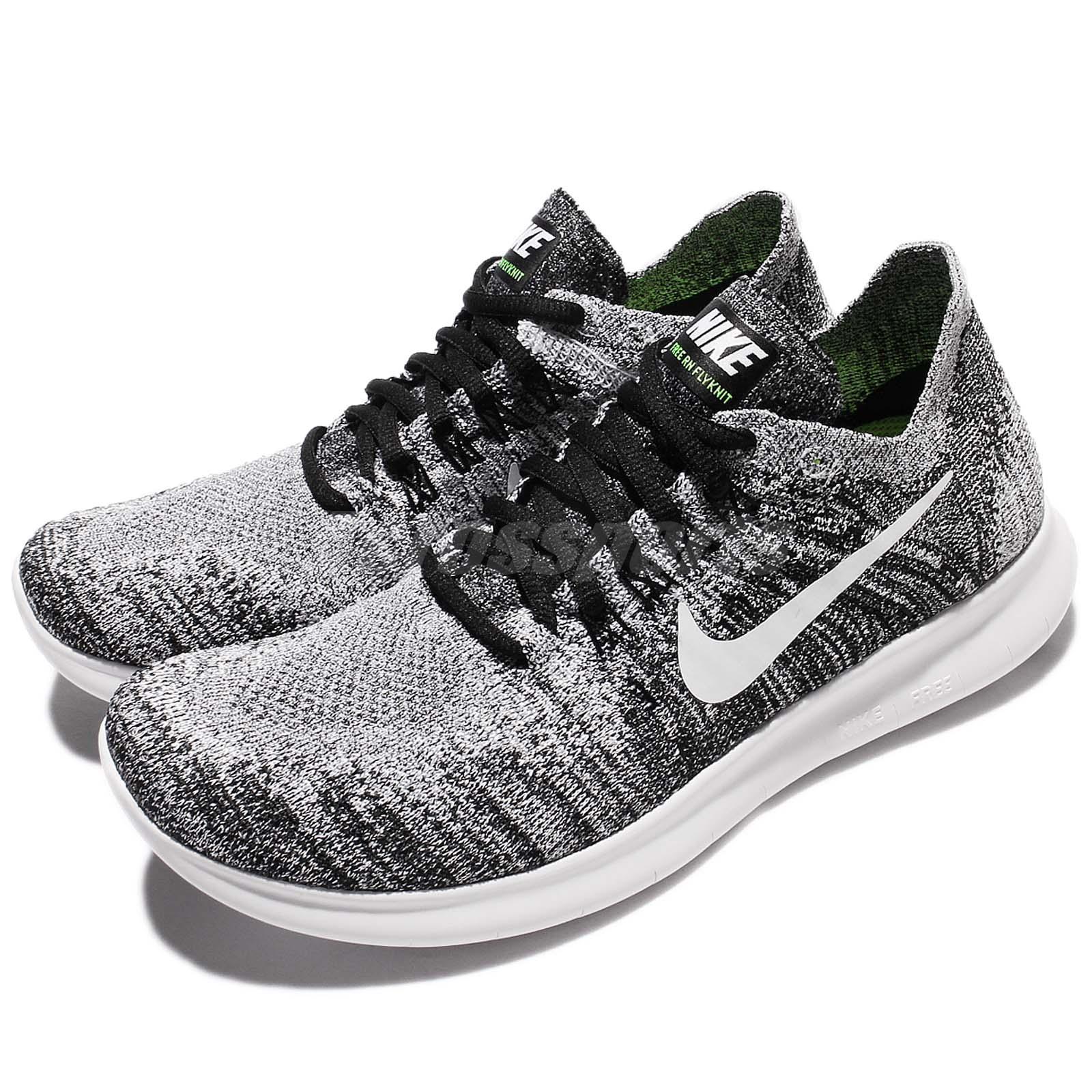 299283bf575 Details about Nike Wmns Free RN Flyknit 2017 White Black Women Running Shoe  Sneaker 880844-003