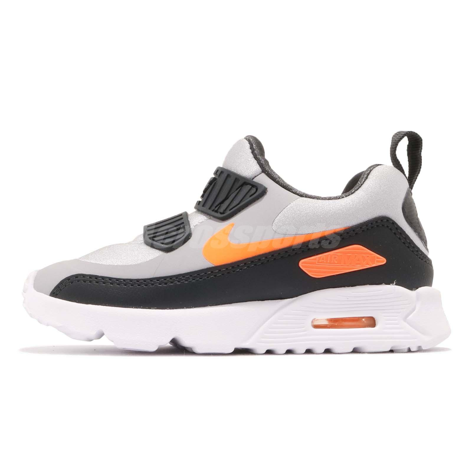 a36e69c13095 Nike Air Max Tiny 90 TD Grey Orange Black Toddler Infant Baby Shoes 881924- 009