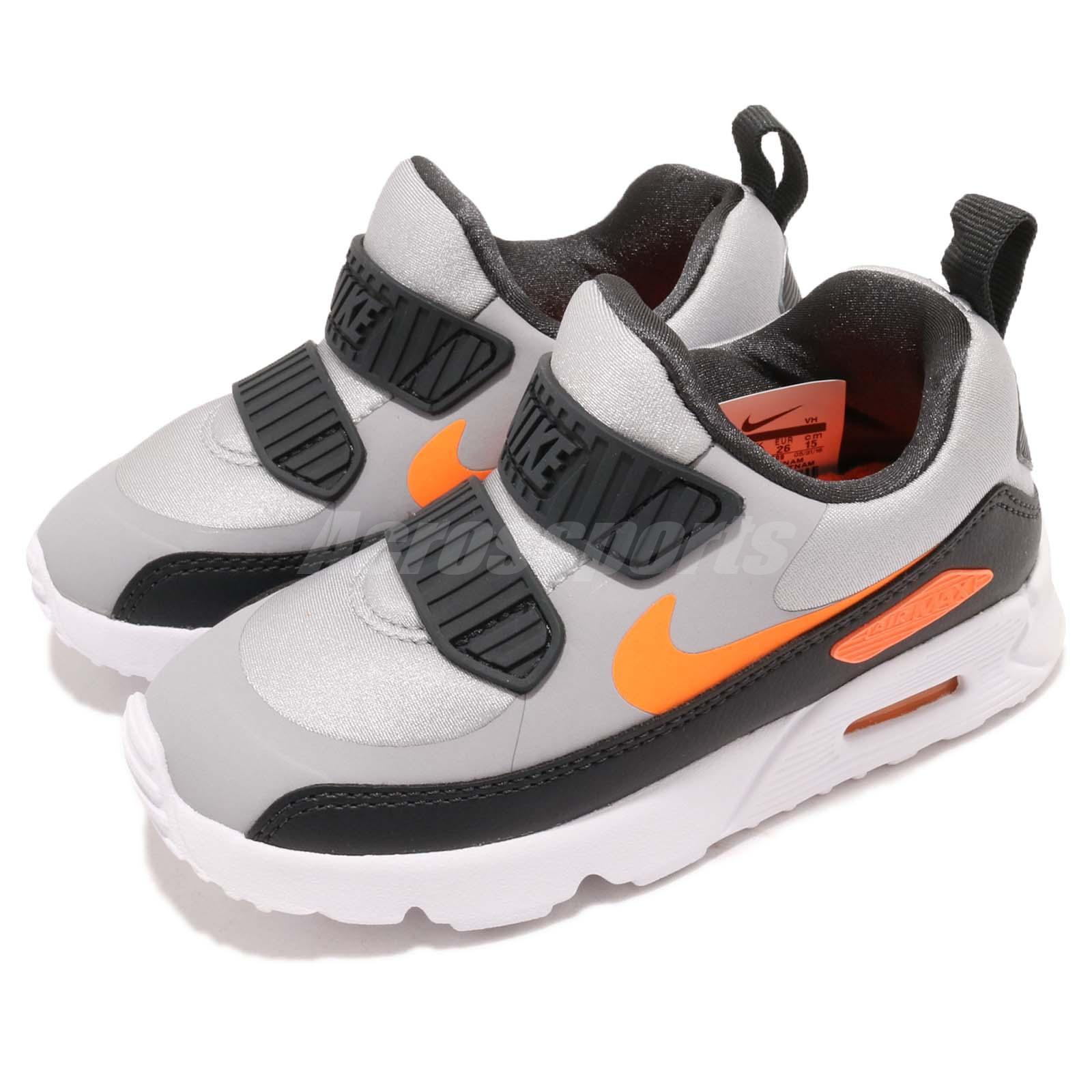 Details about Nike Air Max Tiny 90 TD Grey Orange Black Toddler Infant Baby Shoes 881924 009