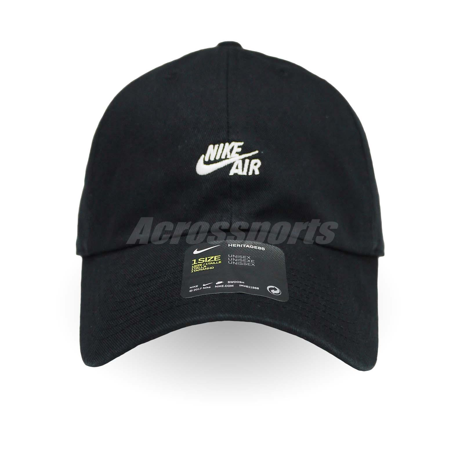 Nike Unisex Air Heritage 86 Cap Running Sports Gym Hat Black White ... 1b9083e44ea