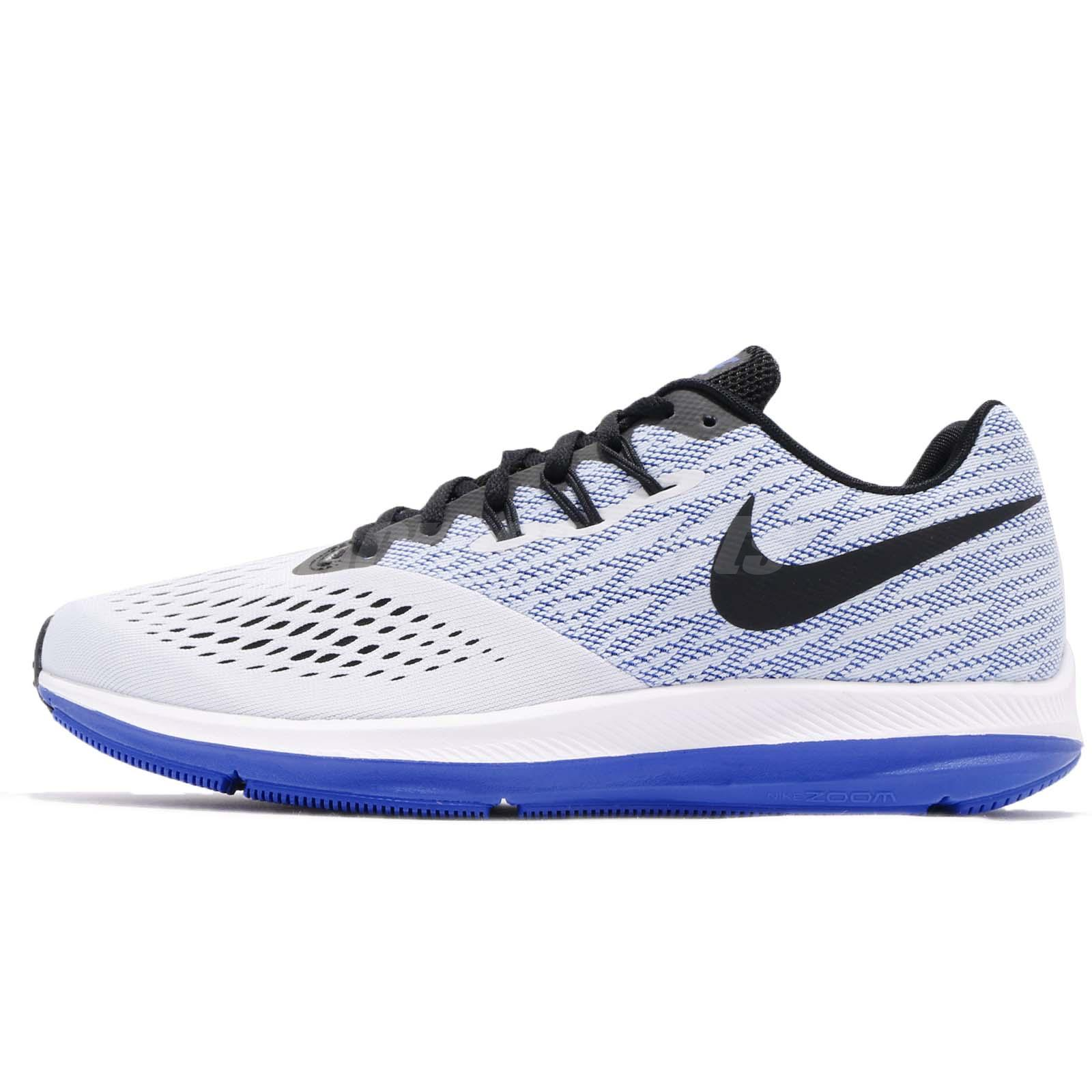 Nike Zoom Winflo 4 IV White Blue Black Mens Running Shoes Trainers 898466- 010 bf42da64d