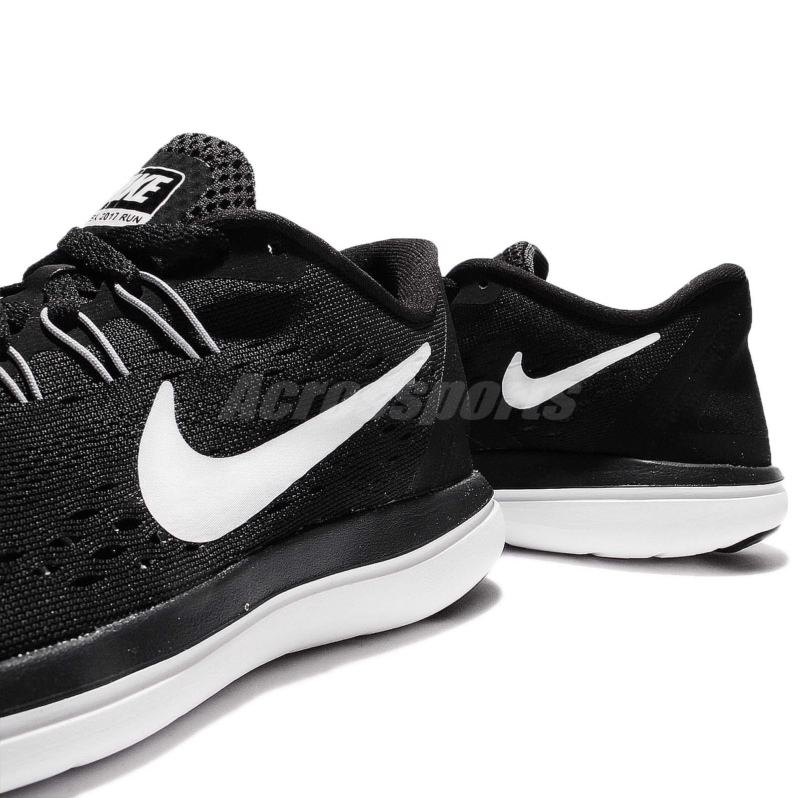 5826ebc1d3c1 Wmns Nike Flex 2017 RN Run Black White Women Running Shoes Sneakers ...