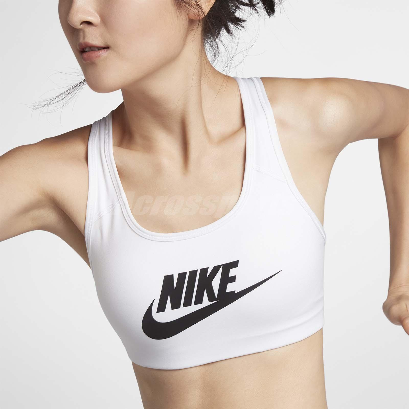 Nike Pro Women Swoosh Futura Medium Support Sports Bra Training White 899371 100 Ebay