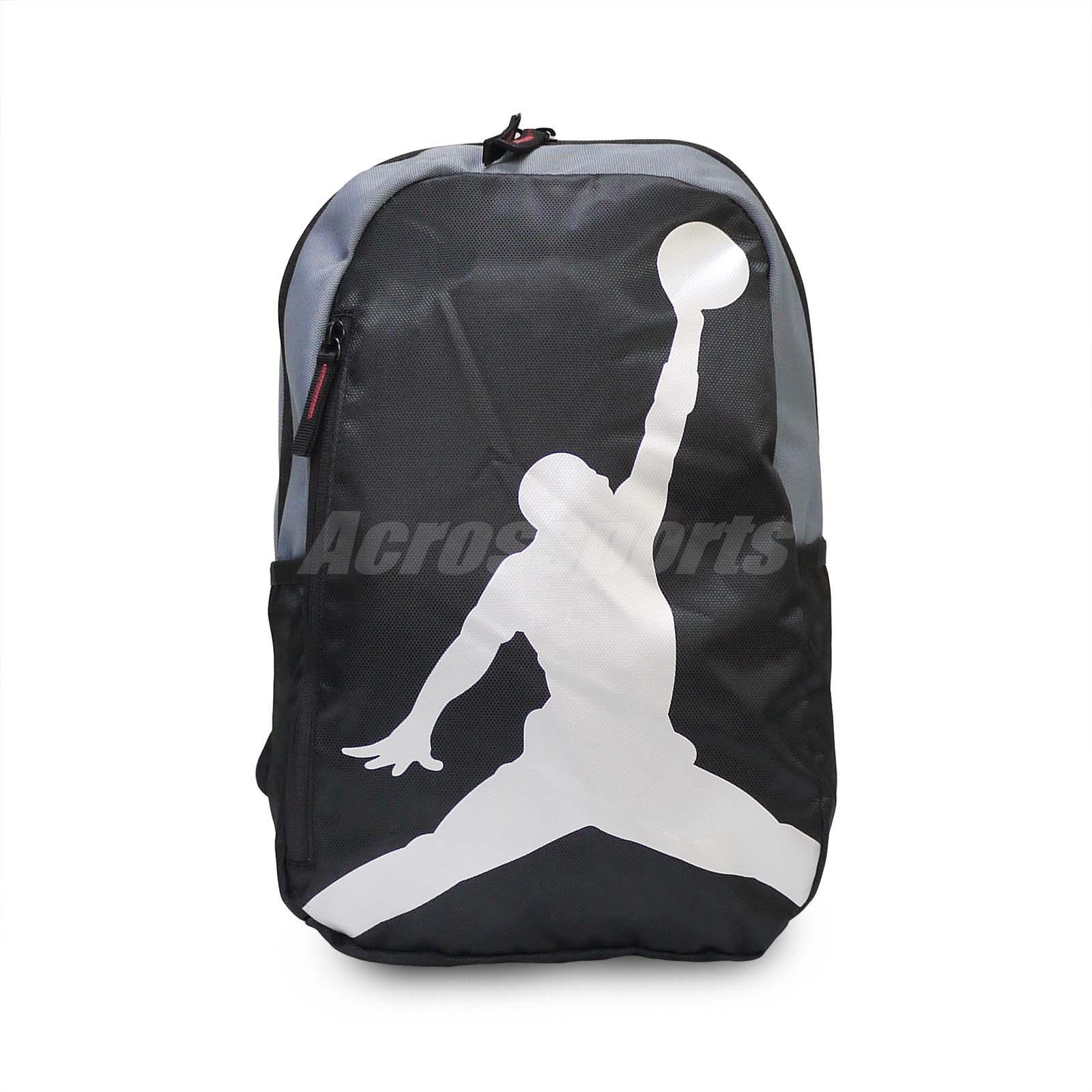 44b63ce99f5 Details about Nike Air Jordan ISO Grey Medium Silver Black Jumpman Backpack  Bag 8A1911-023