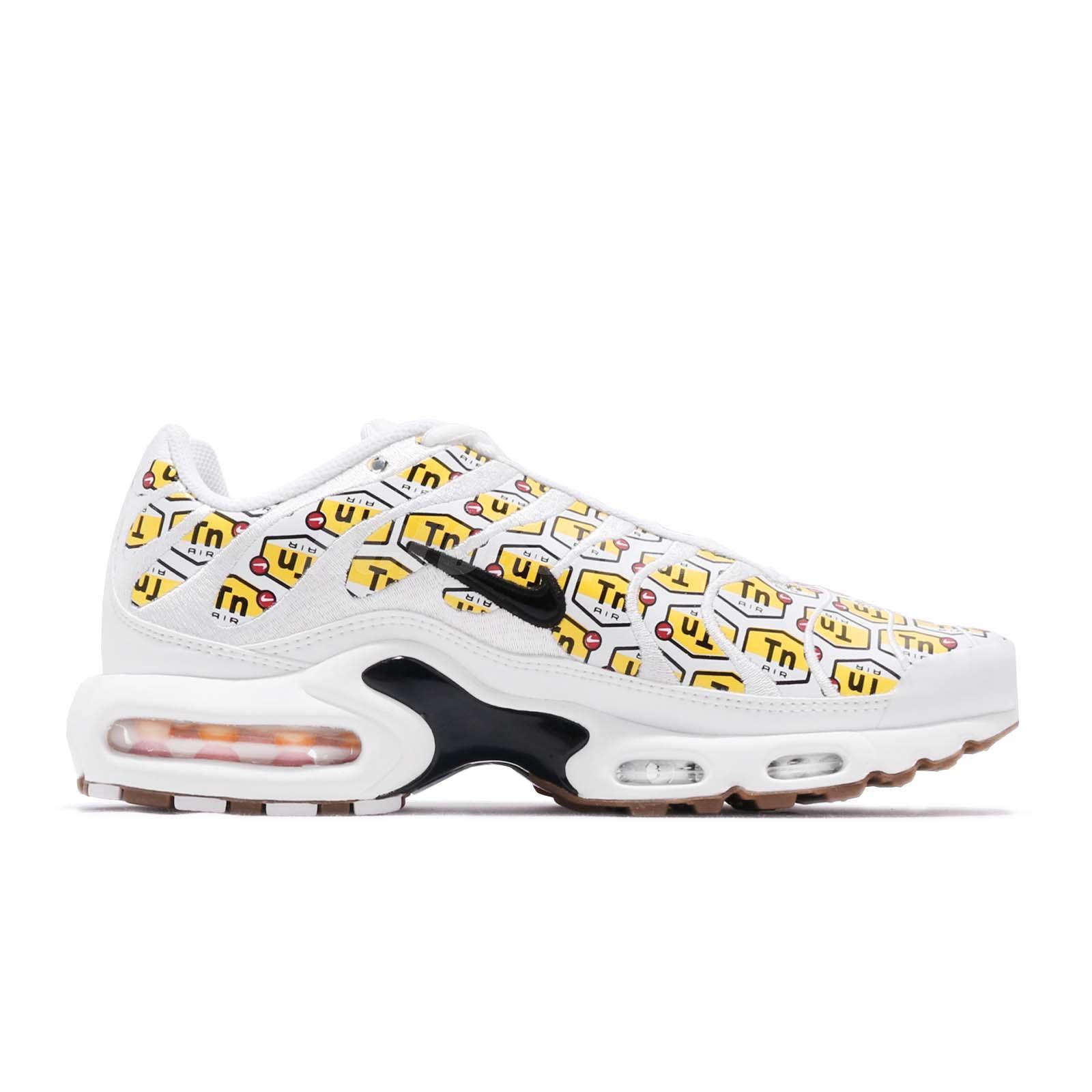 Nike Air Max Plus QS All Over Print White Black Yellow Gum Men Shoes ... b057c0d19