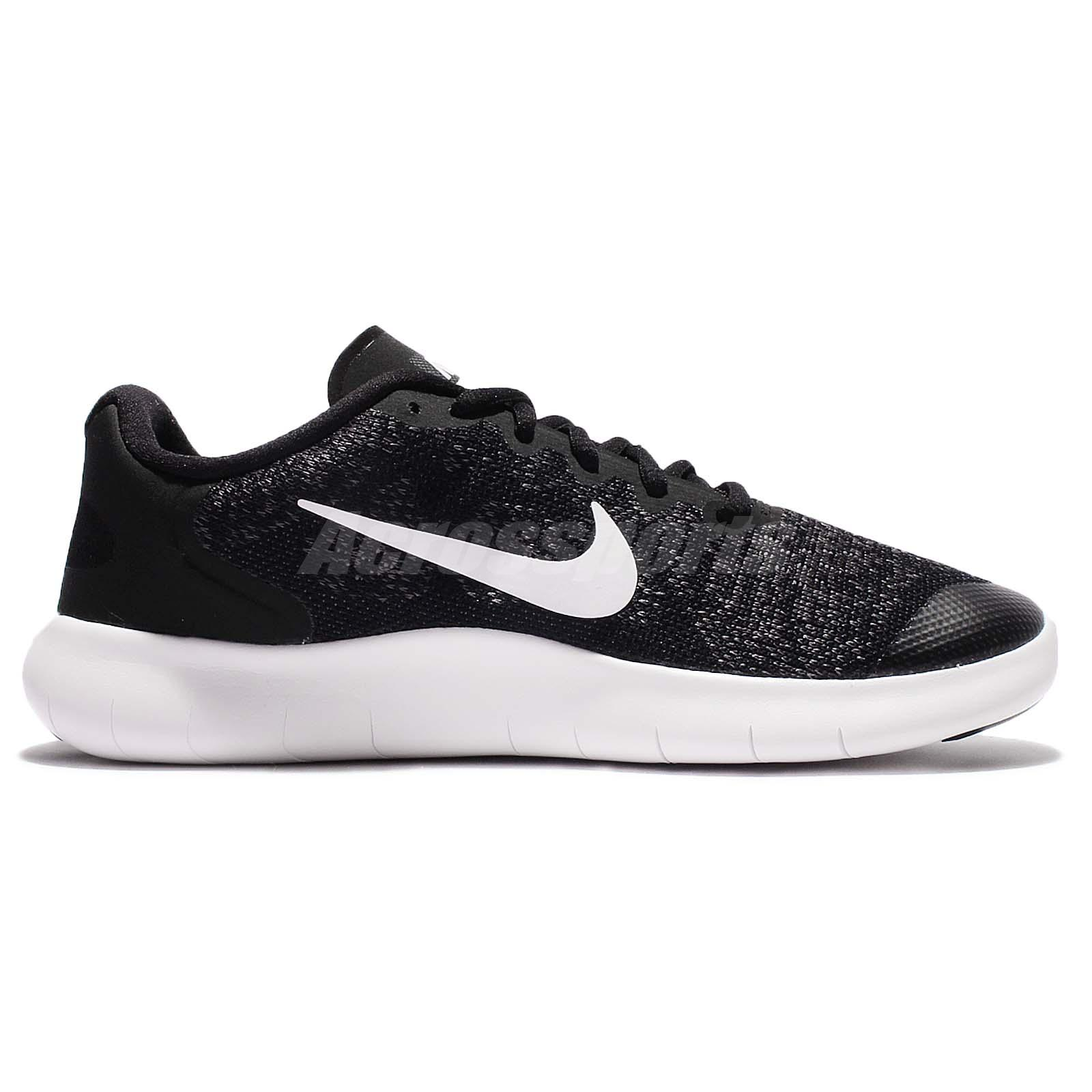 0123434f34d7 Nike Free RN 2017 GS Run Black White Kid Youth Women Running Shoes ...