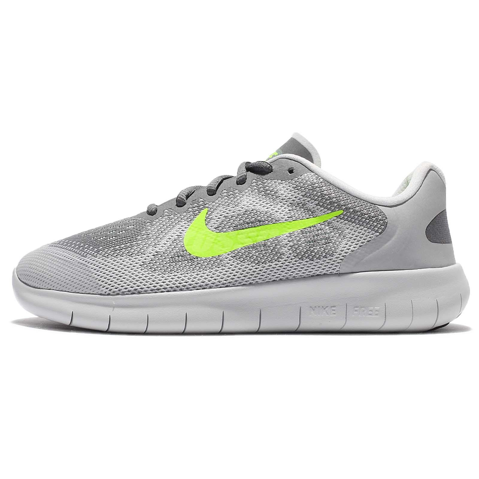 172a022fe21c9 Nike Free RN 2017 GS Run Grey Green Kids Running Shoes Sneakers 904255-004