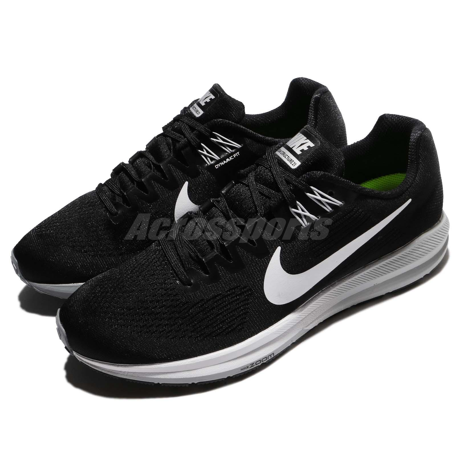 buy online f42ba 5d1dd Details about Nike Air Zoom Structure 21 Black White Men Running Shoes  Sneakers 904695-001