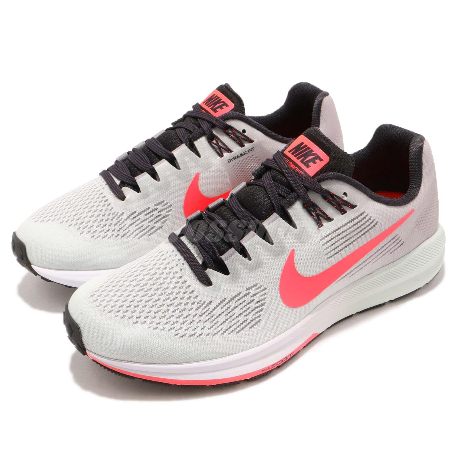 3751ee665d825 Nike Wmns Air Zoom Structure 21 Grey Hot Punch Women Running Shoes ...
