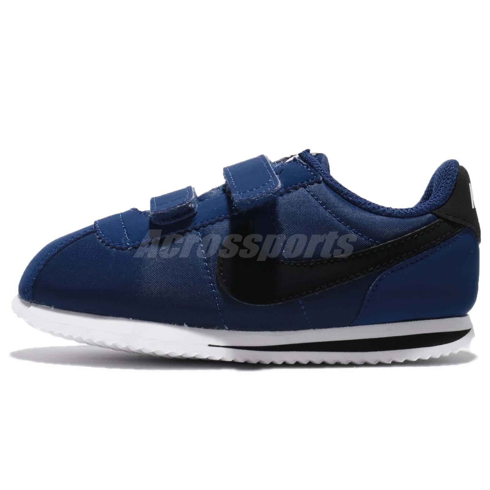 Nike Cortez Basic Nylon TDV Gym Blue Black Toddler Infant Baby Shoes