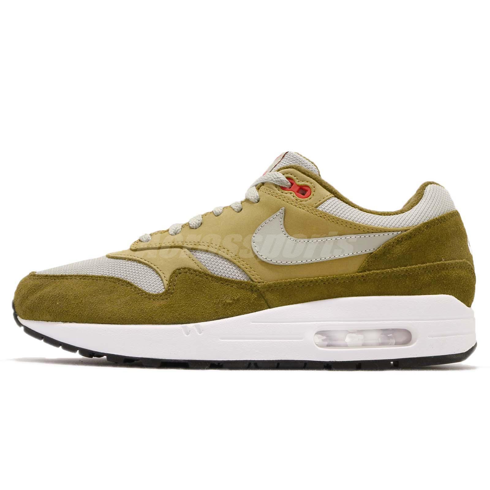 more photos 5ec29 663b6 atmos X Nike Air Max 1 Premium Retro Green Curry Men Running Shoes 908366- 300