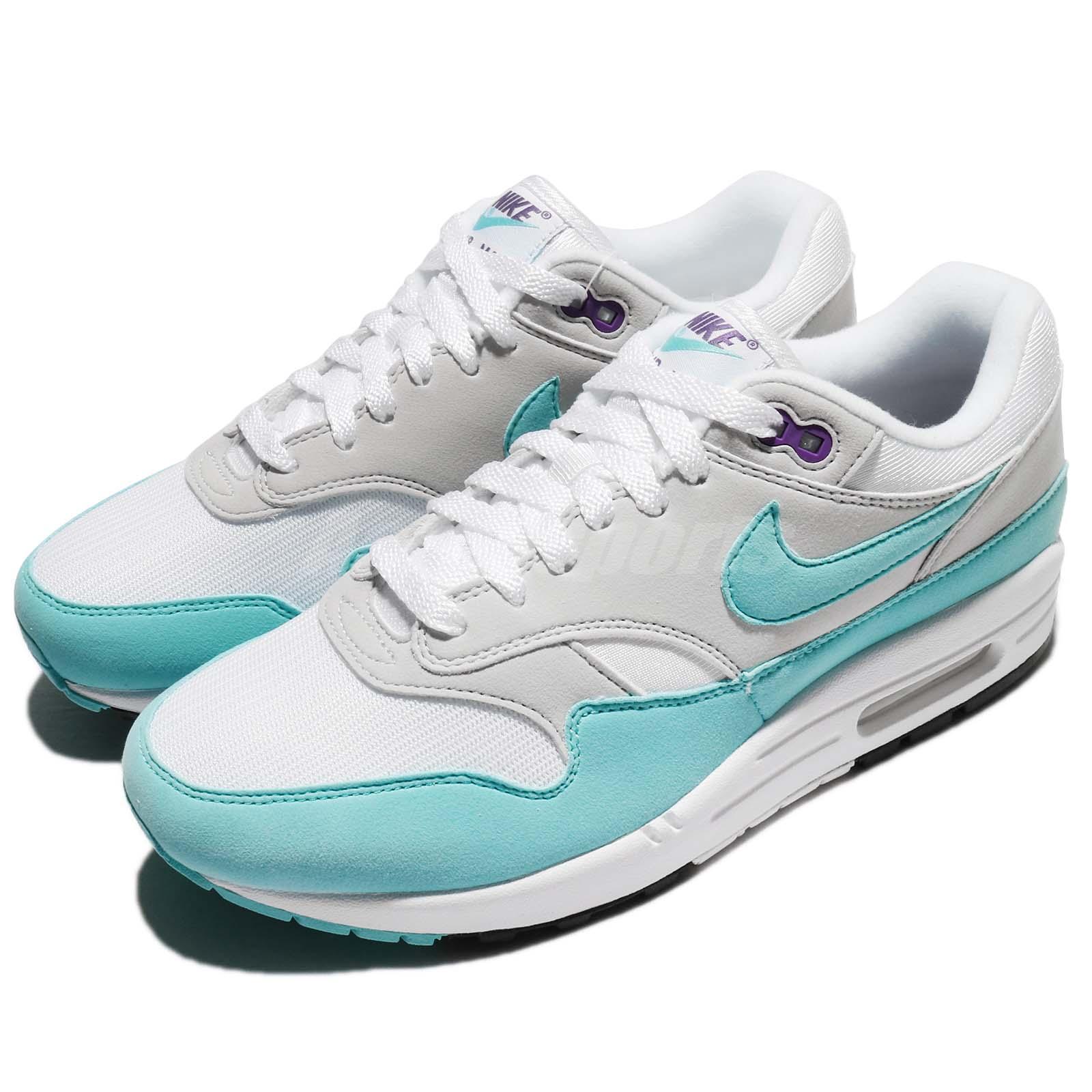 Details about Nike Air Max 1 Anniversary OG Aqua White Blue Men Running  Shoes 908375-105 b37b3853a