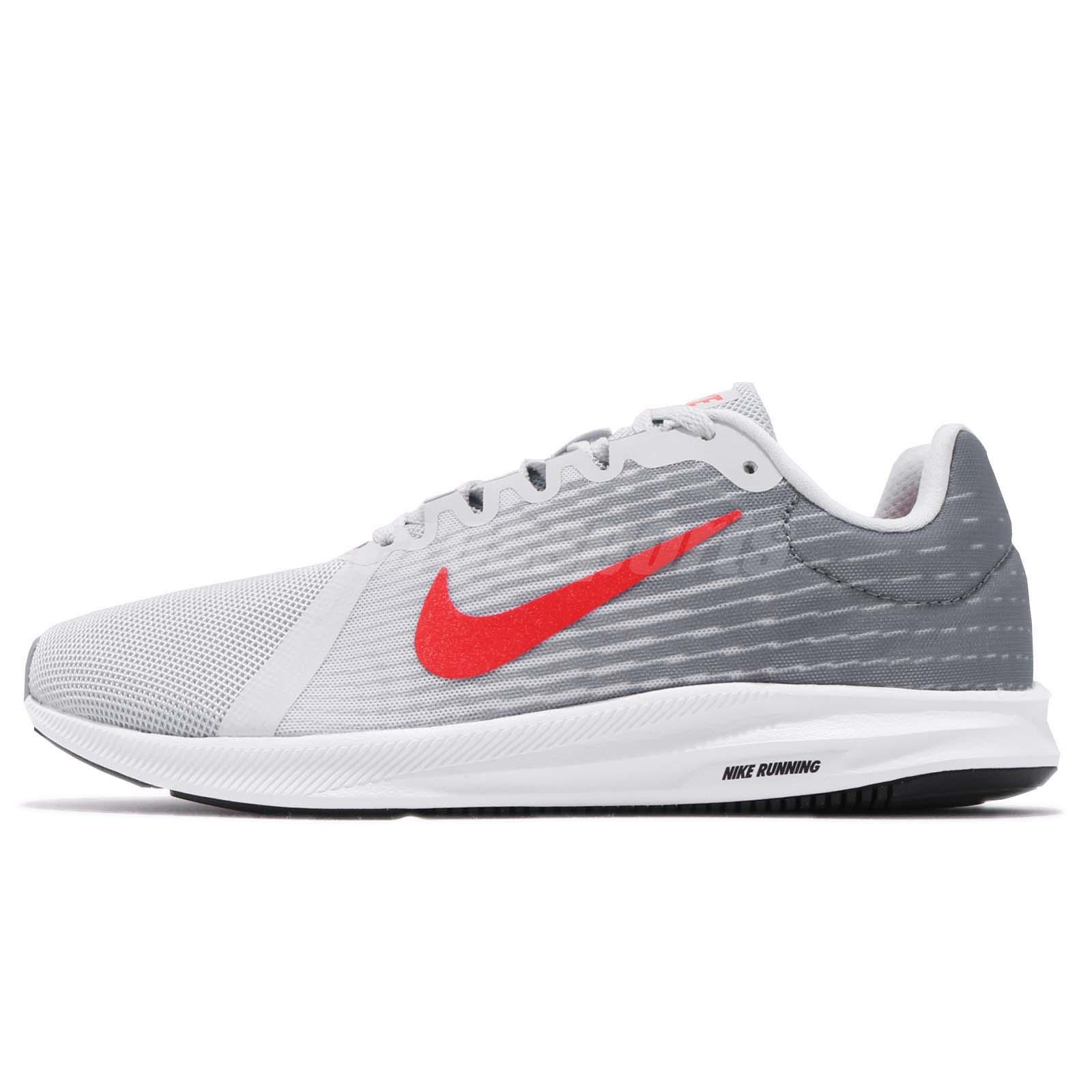 5be738999e537 Nike Downshifter 8 VIII Pure Platinum Red Men Running Shoes Sneakers  908984-012