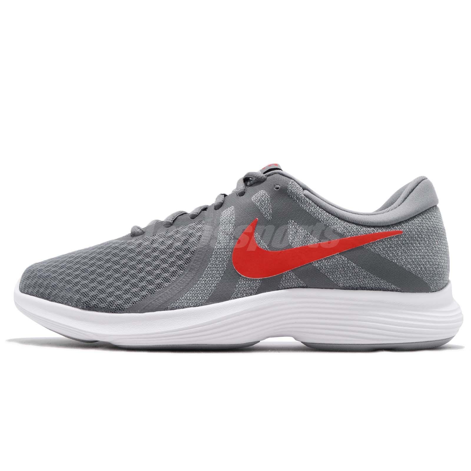 d8d01e0e6d5d1 Nike Revolution 4 IV Grey Red White Men Running Shoes Sneakers 908988-013