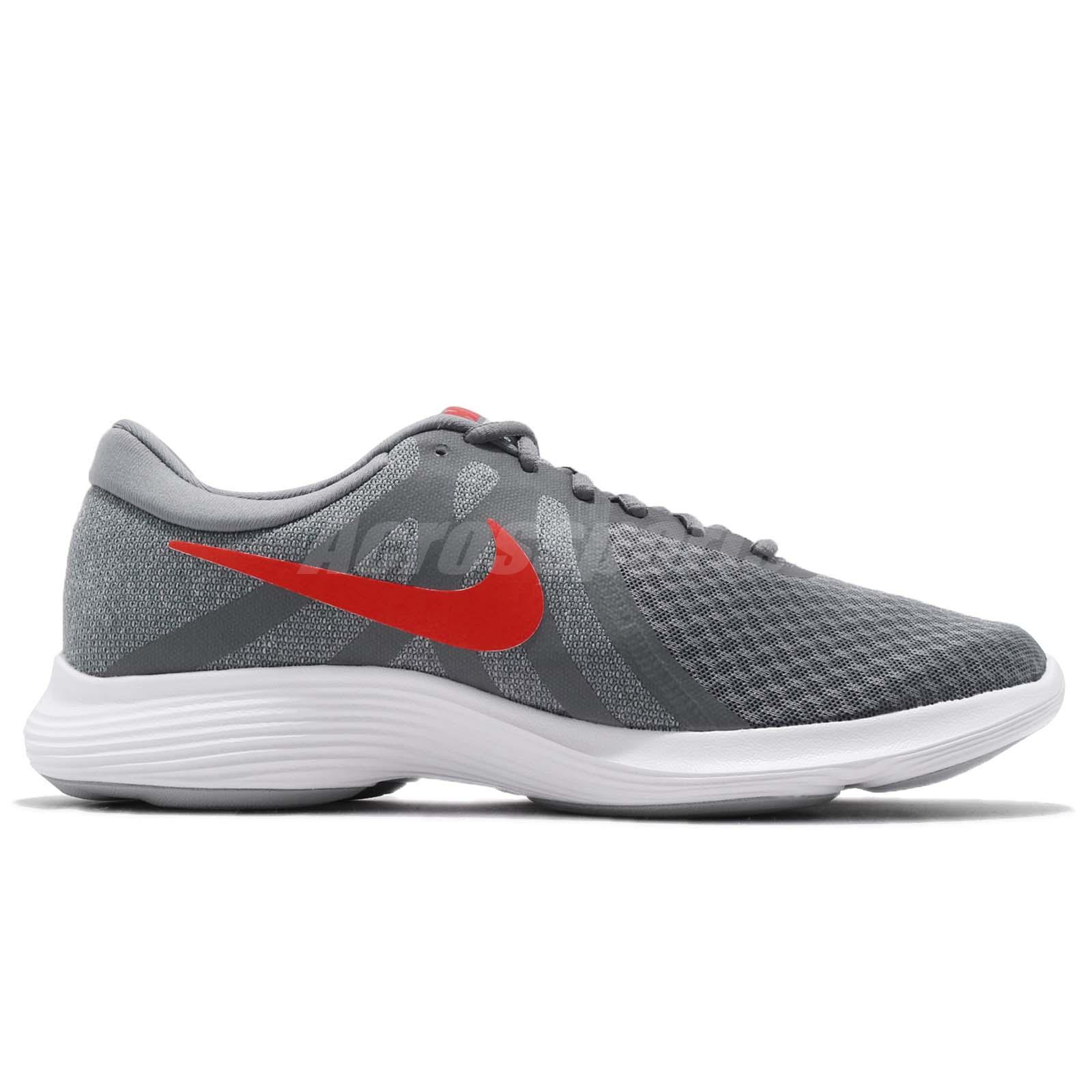 55a2b1d7c76d Nike Revolution 4 IV Grey Red White Men Running Shoes Sneakers ...