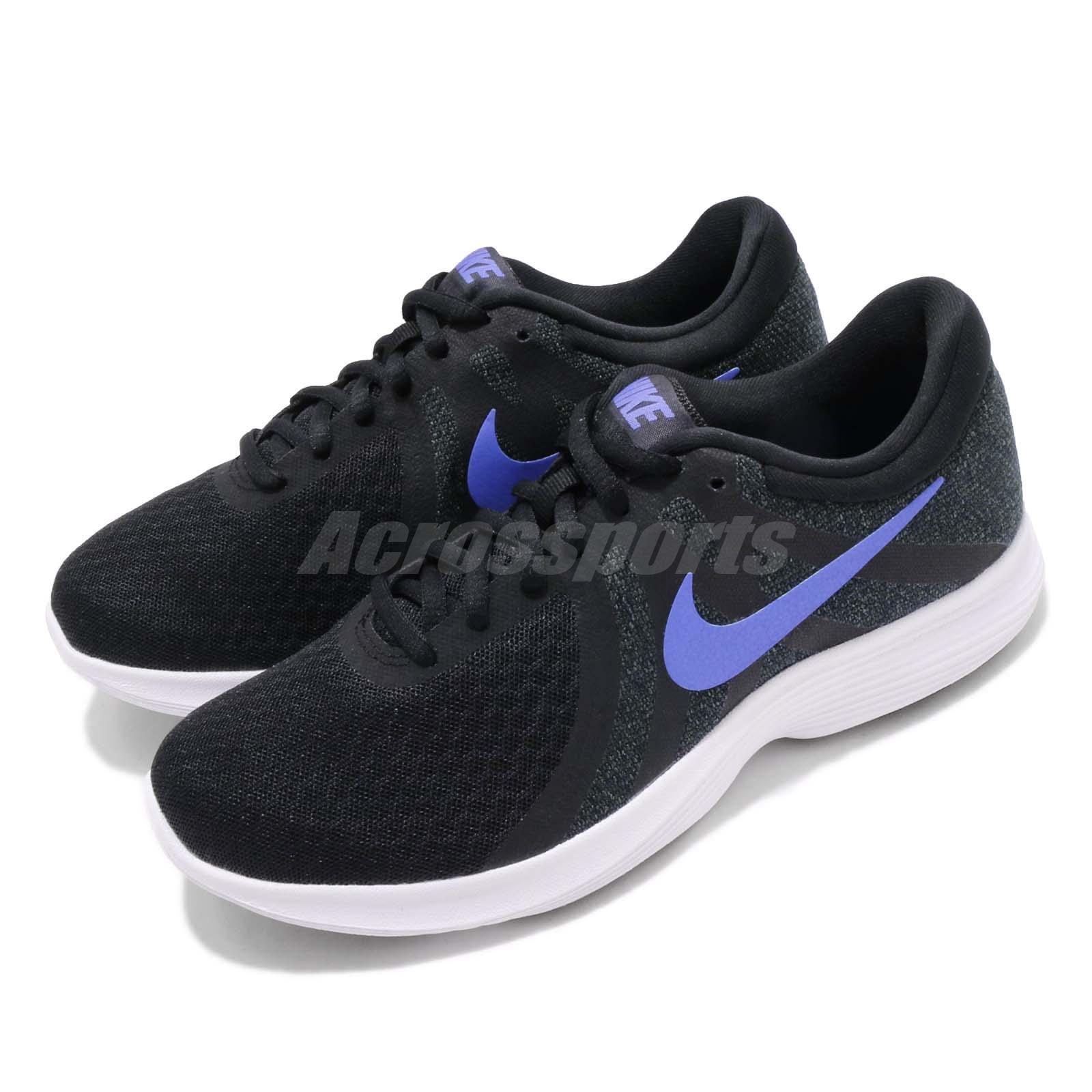 faf6487515eb Nike Wmns Revolution 4 Black Sapphire White Women Running Shoes ...