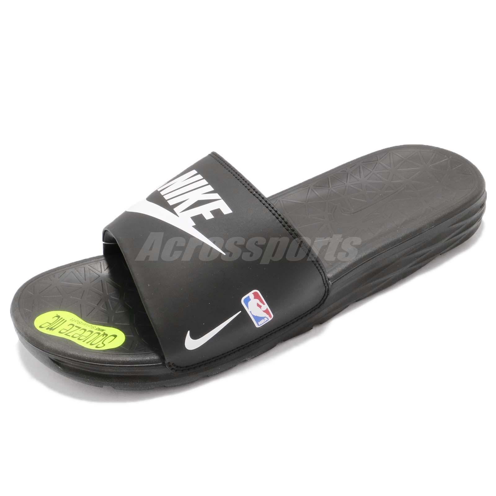 fb02fab8e31 Nike Benassi Solarsoft NBA Logo Black White Sports Slide Sandal 917551-004
