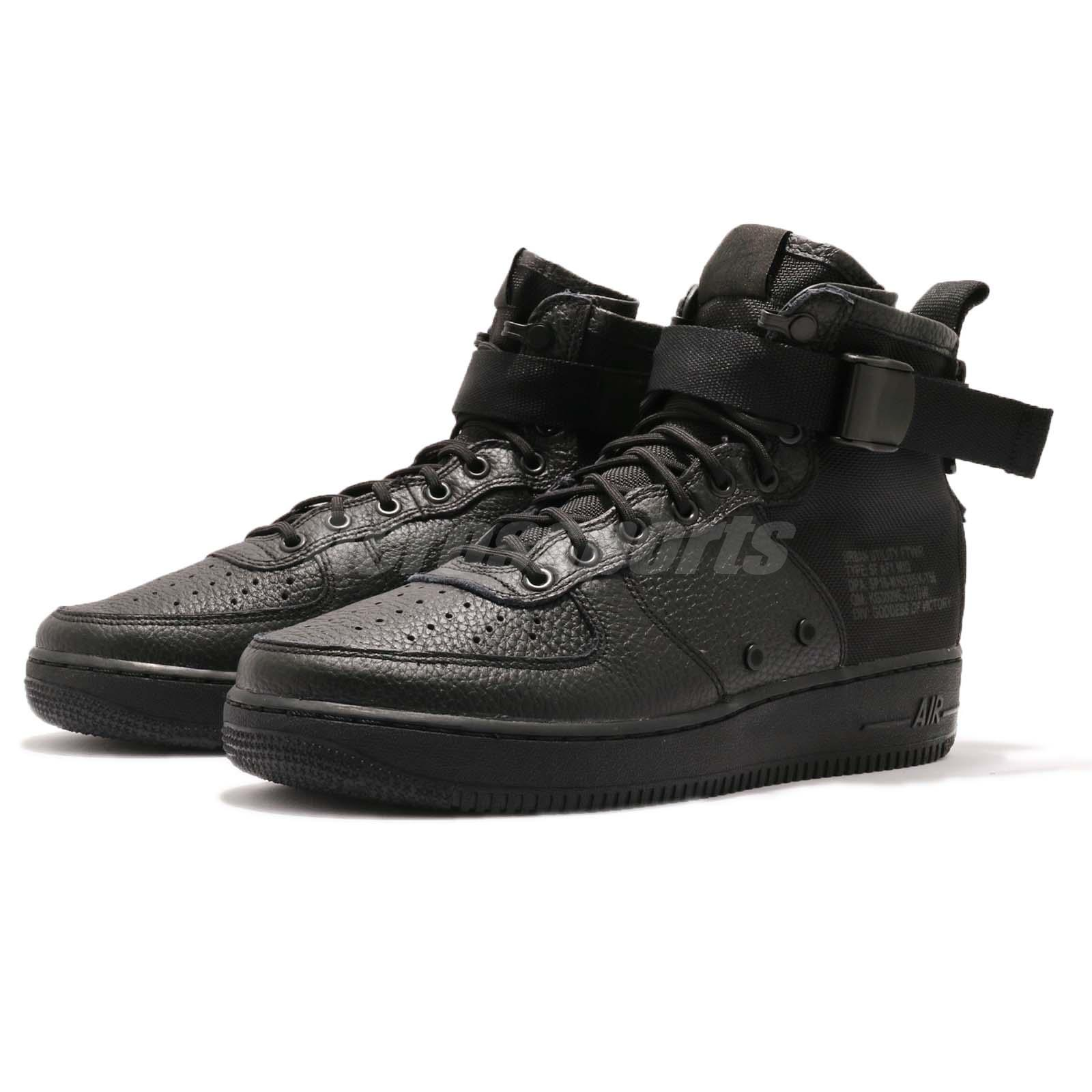 best authentic 50ee1 e1f11 Nike SF AF1 Mid Triple Black Men Lifestyle Casual Shoes Sneakers ...