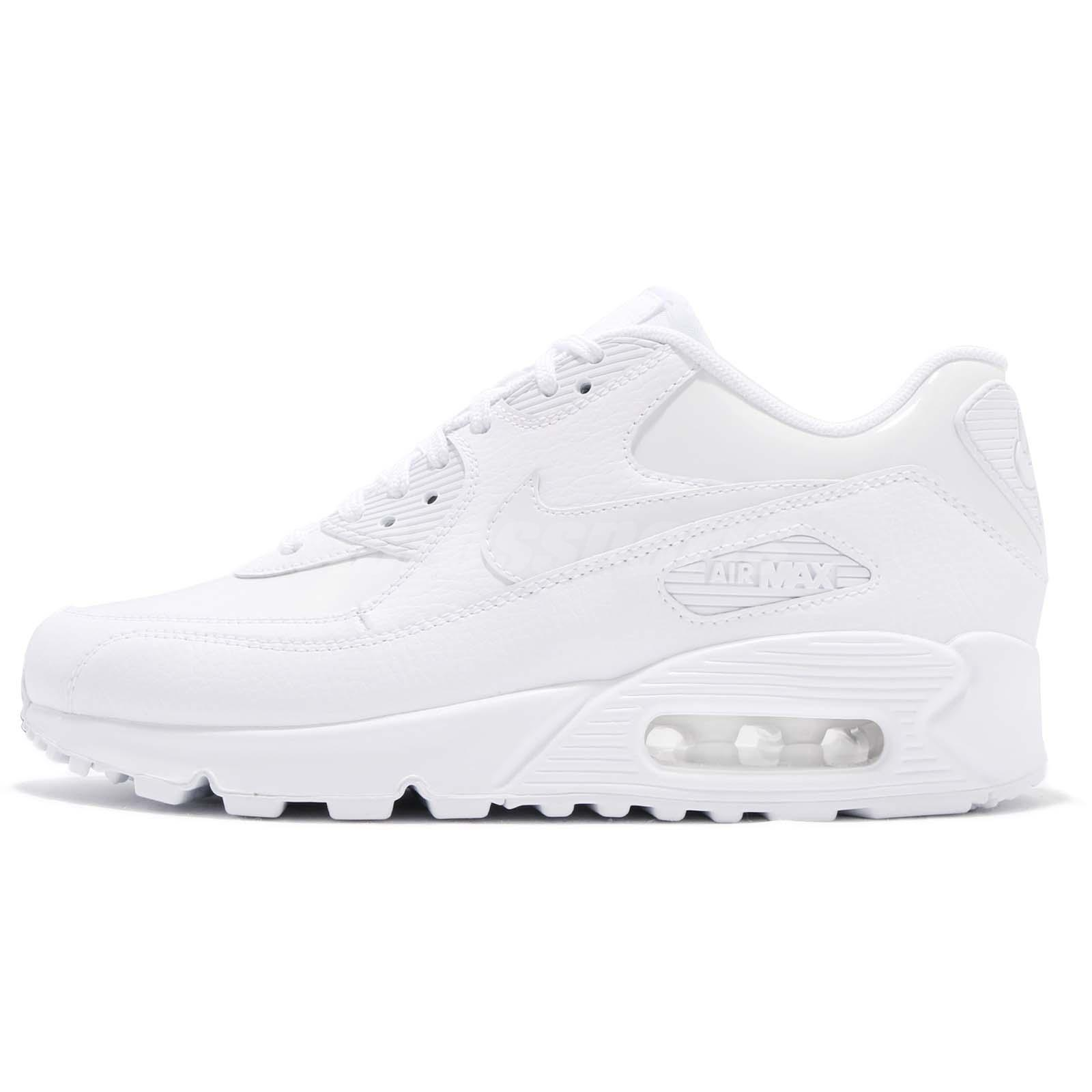 Nike Wmns Air Max 90 LEA Patent Leather Triple White Women Running 921304101