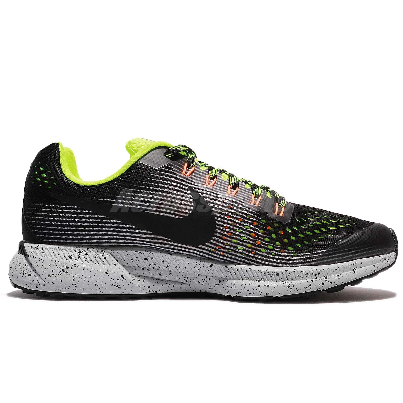 de5a16272a5c Nike Zoom Pegasus 34 Shield GS Water Repel Black Volt Kids Running ...