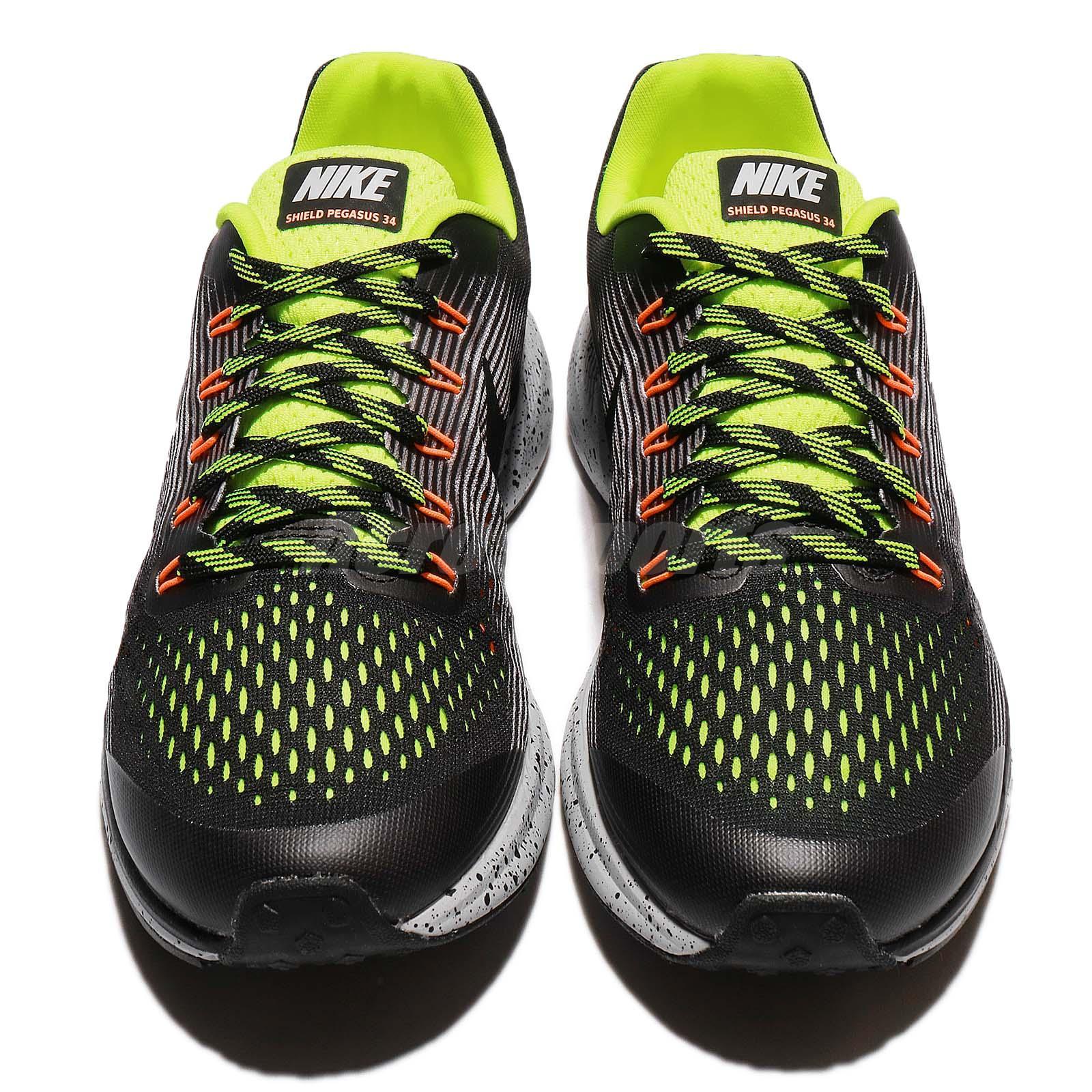 878c9aa29def Nike Zoom Pegasus 34 Shield GS Water Repel Black Volt Kids Running ...