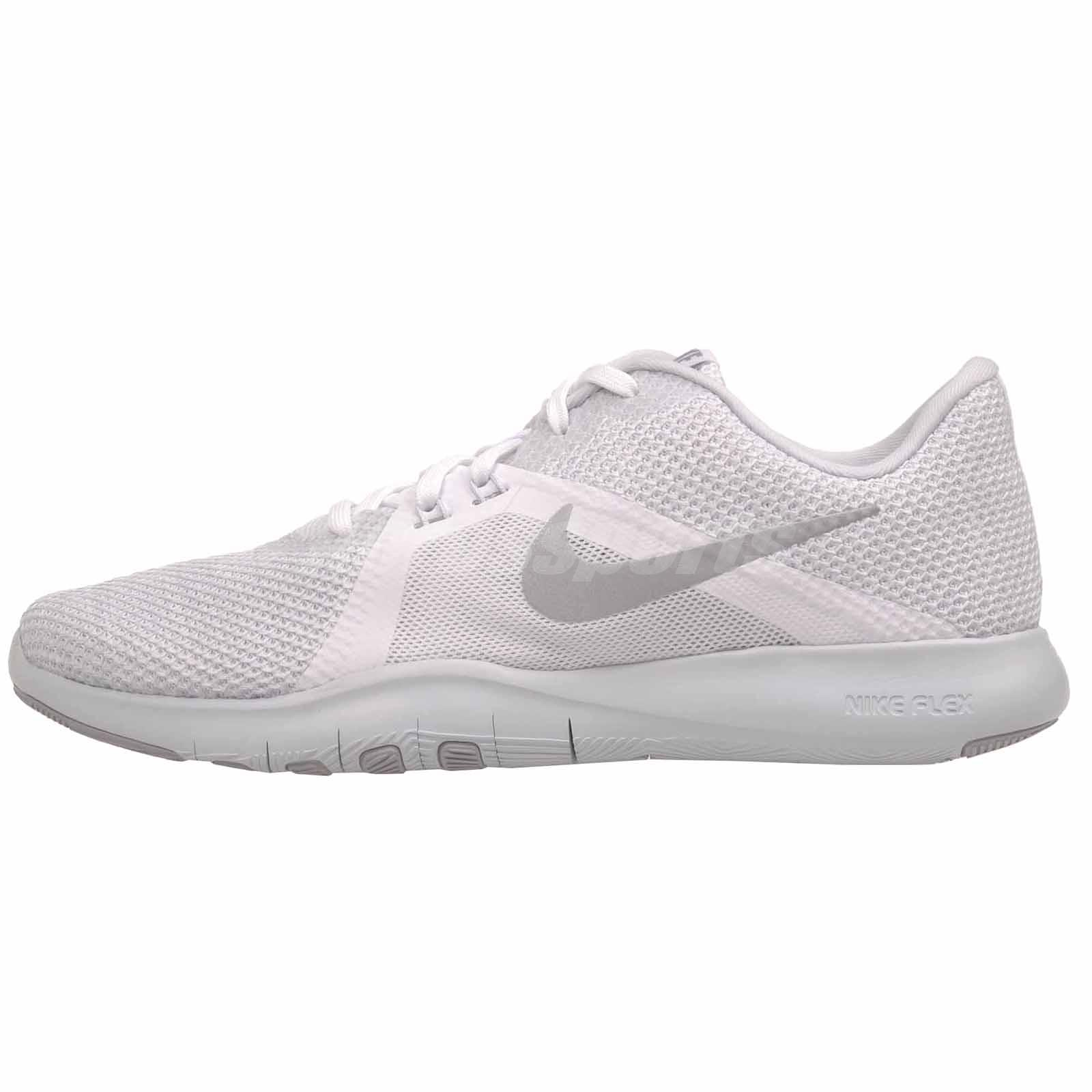 17ae500cce3a2 Details about Nike W Flex Trainer 8 Cross Training Womens Shoes White Silver  924339-100