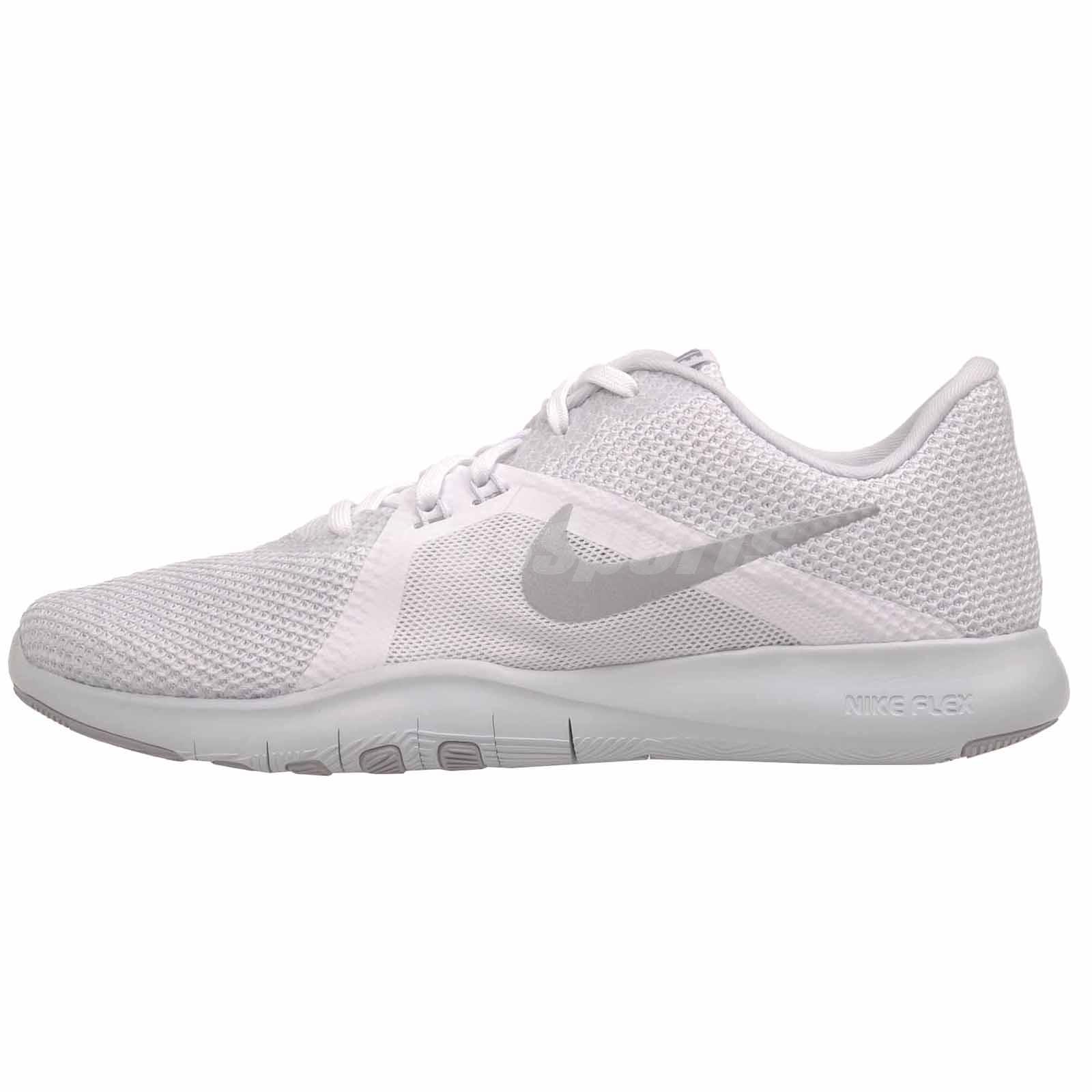 Nike W Flex Trainer 8 Cross Training Womens Shoes White Silver 924339-100 847df888ac2
