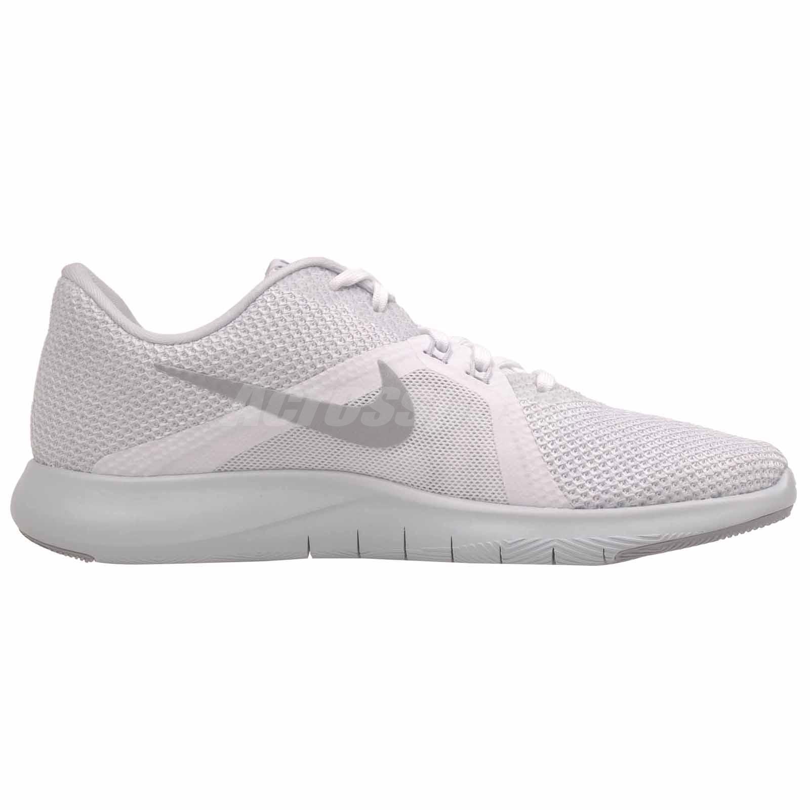 fdb8c1292c3d5 Nike W Flex Trainer 8 Cross Training Womens Shoes White Silver ...