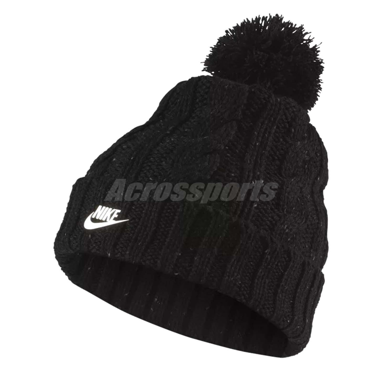 32e7538877e Nike Women Sportswear Beanie Hat Knit Wool Removable Pom NSW Black  925422-010