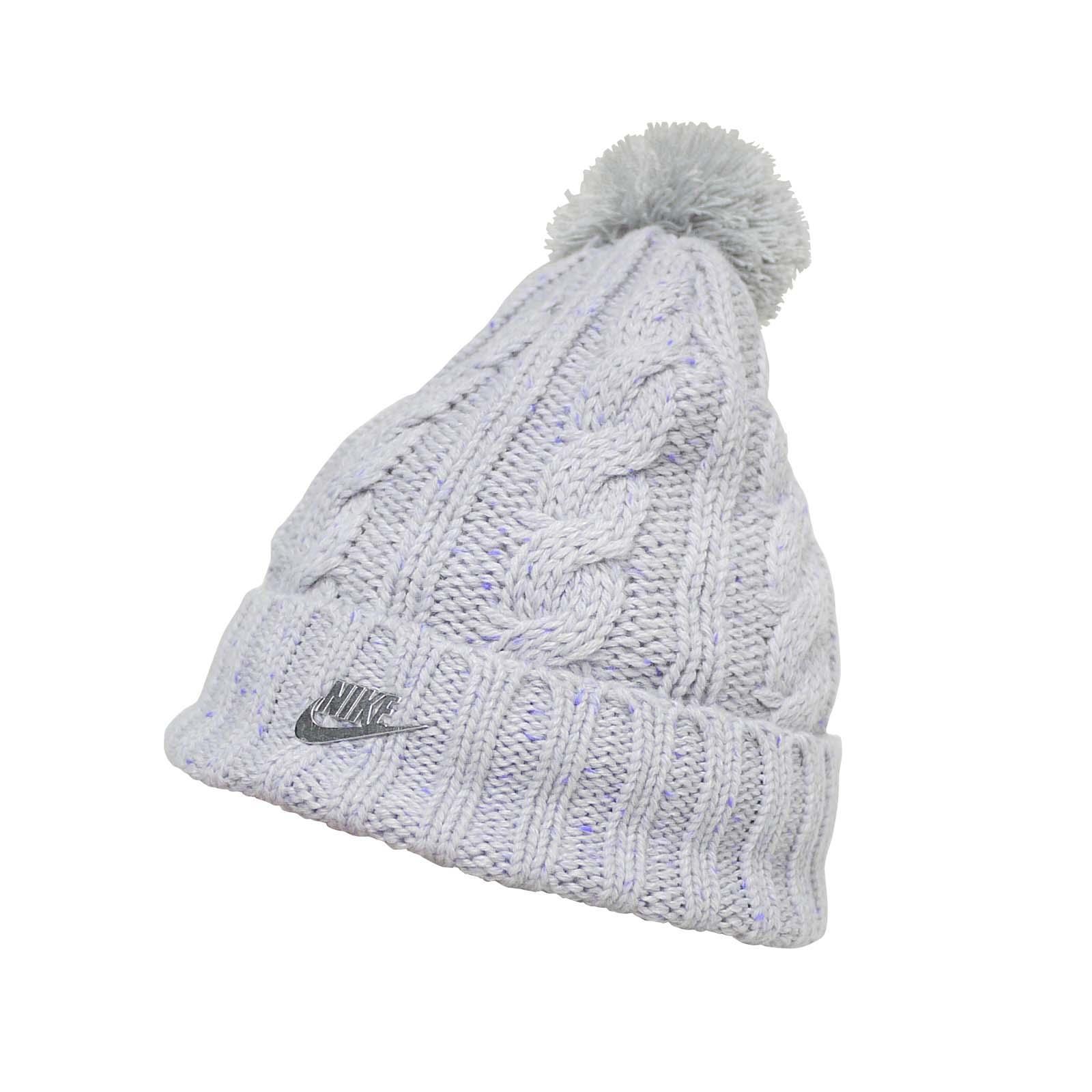 c13918faebf Nike Women Sportswear Beanie Hat Knit Wool Removable Pom NSW Grey 925422-028