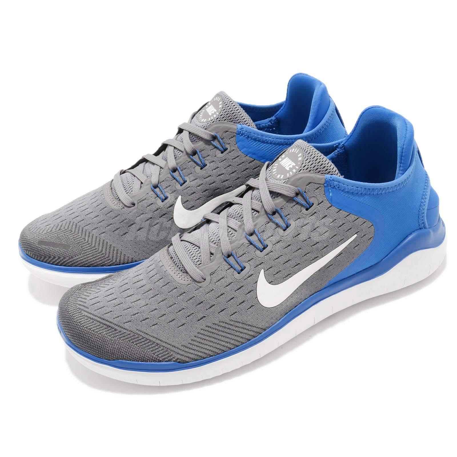 a04ac0bea576 Details about Nike Free RN 2018 Run Grey Blue White Men Running Shoes  Sneakers 942836-008