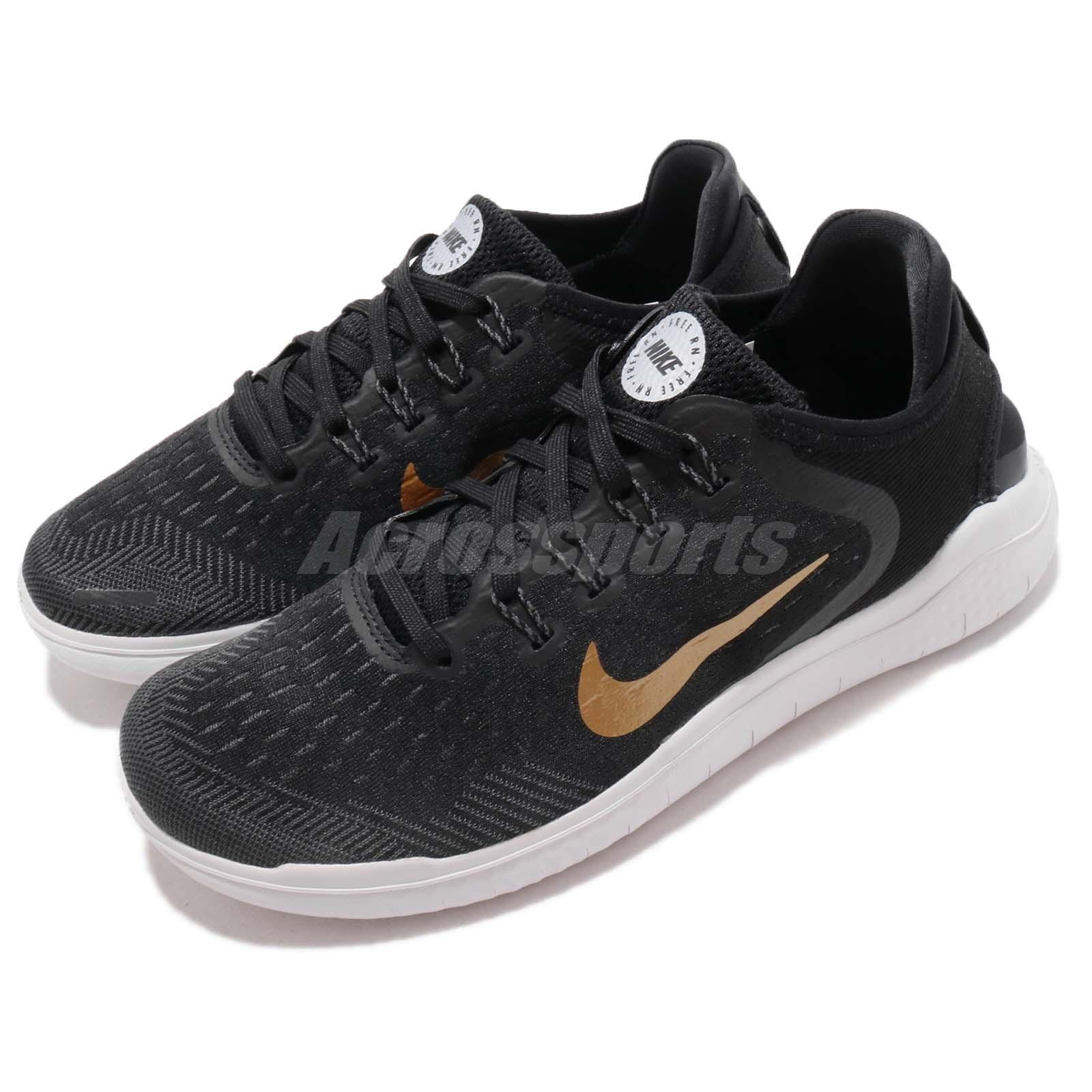 80d85a8ae3c6 Details about Nike Wmns Free RN 2018 Run Black Gold Women Running Shoes  Sneakers 942837-008