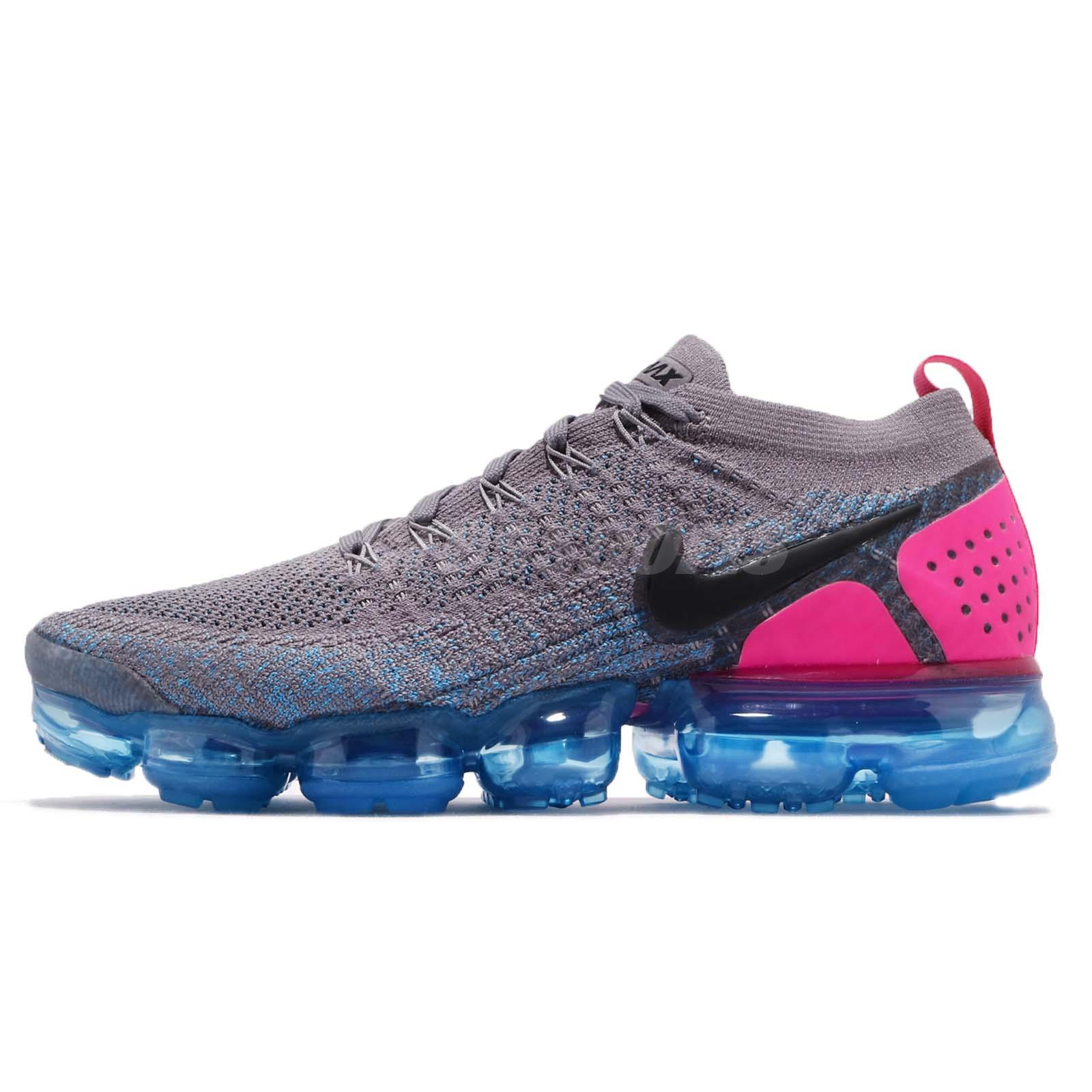 d16eb13a313b Nike Air Vapormax Flyknit 2 II Gunsmoke Pink Blue Men Running Shoes 942842- 004